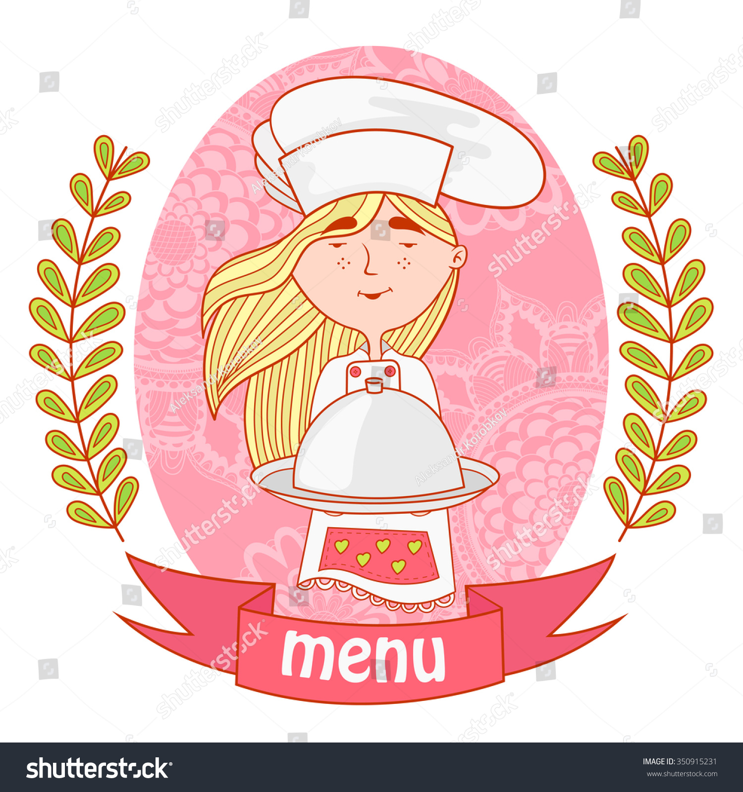 cute girl chef cook dish on stock vector 350915231