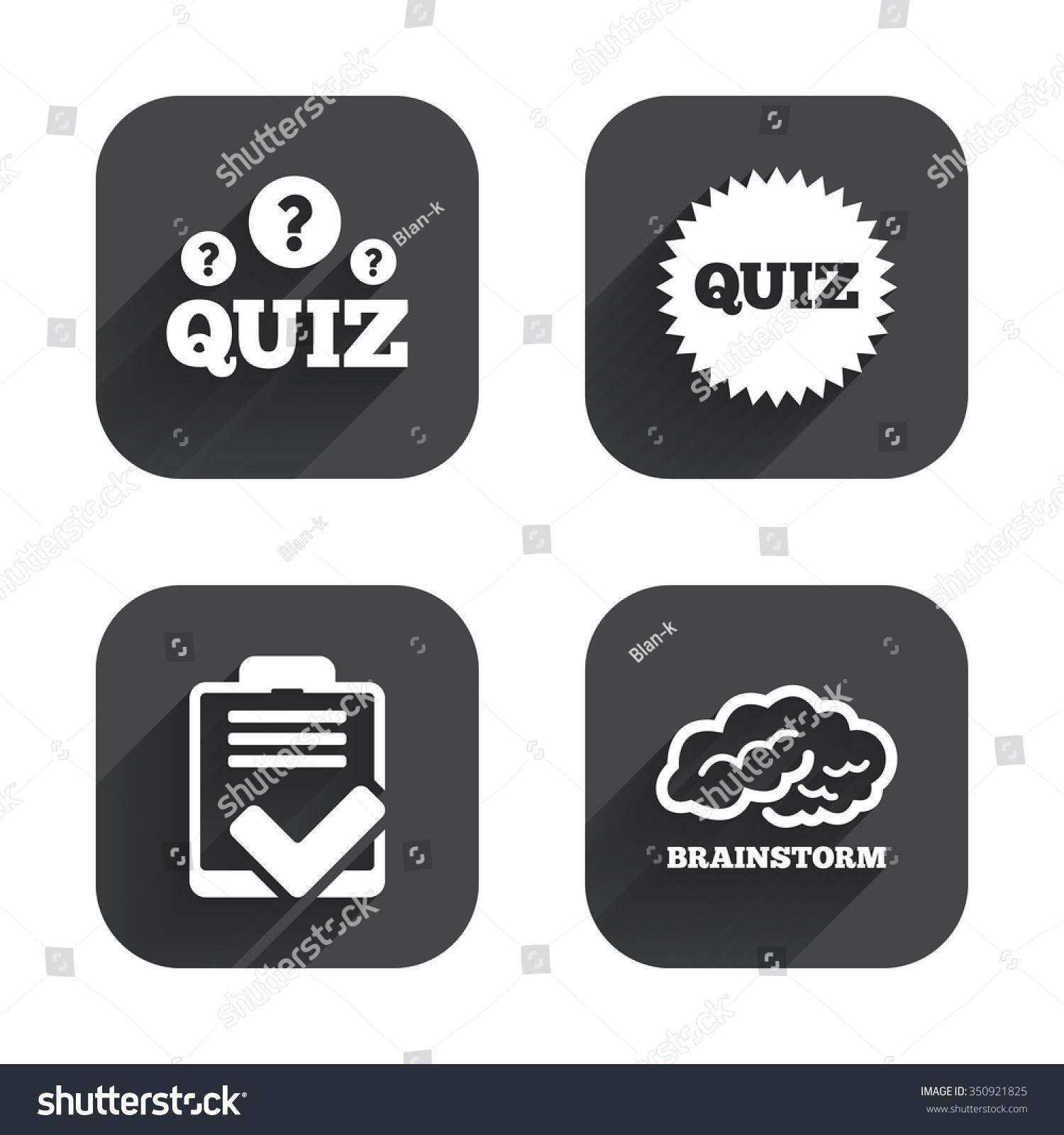 Quiz Icons Brainstorm Human Think Checklist Stock Vector
