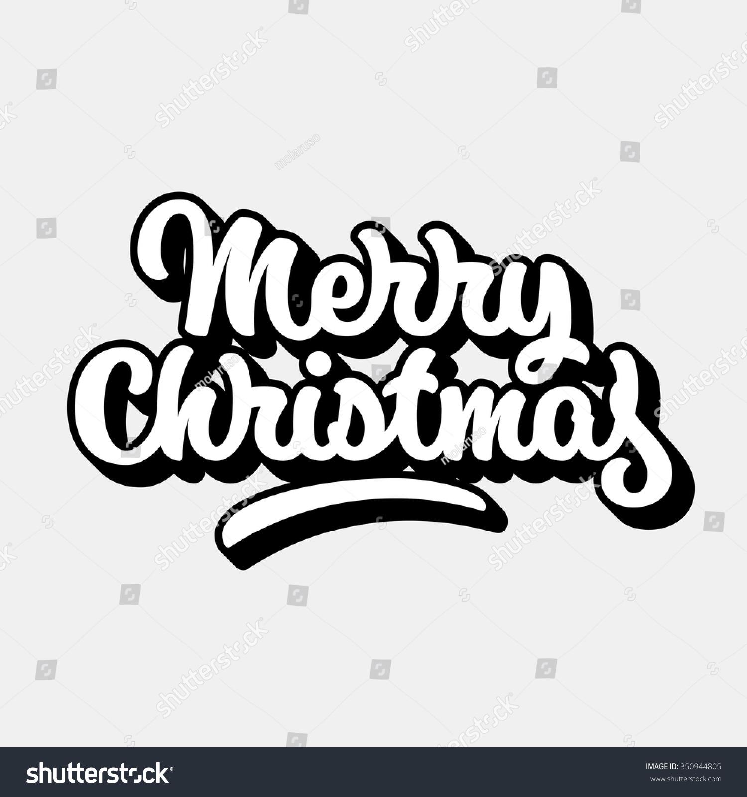 Merry Christmas Xmas Badge Handwritten Lettering Stock