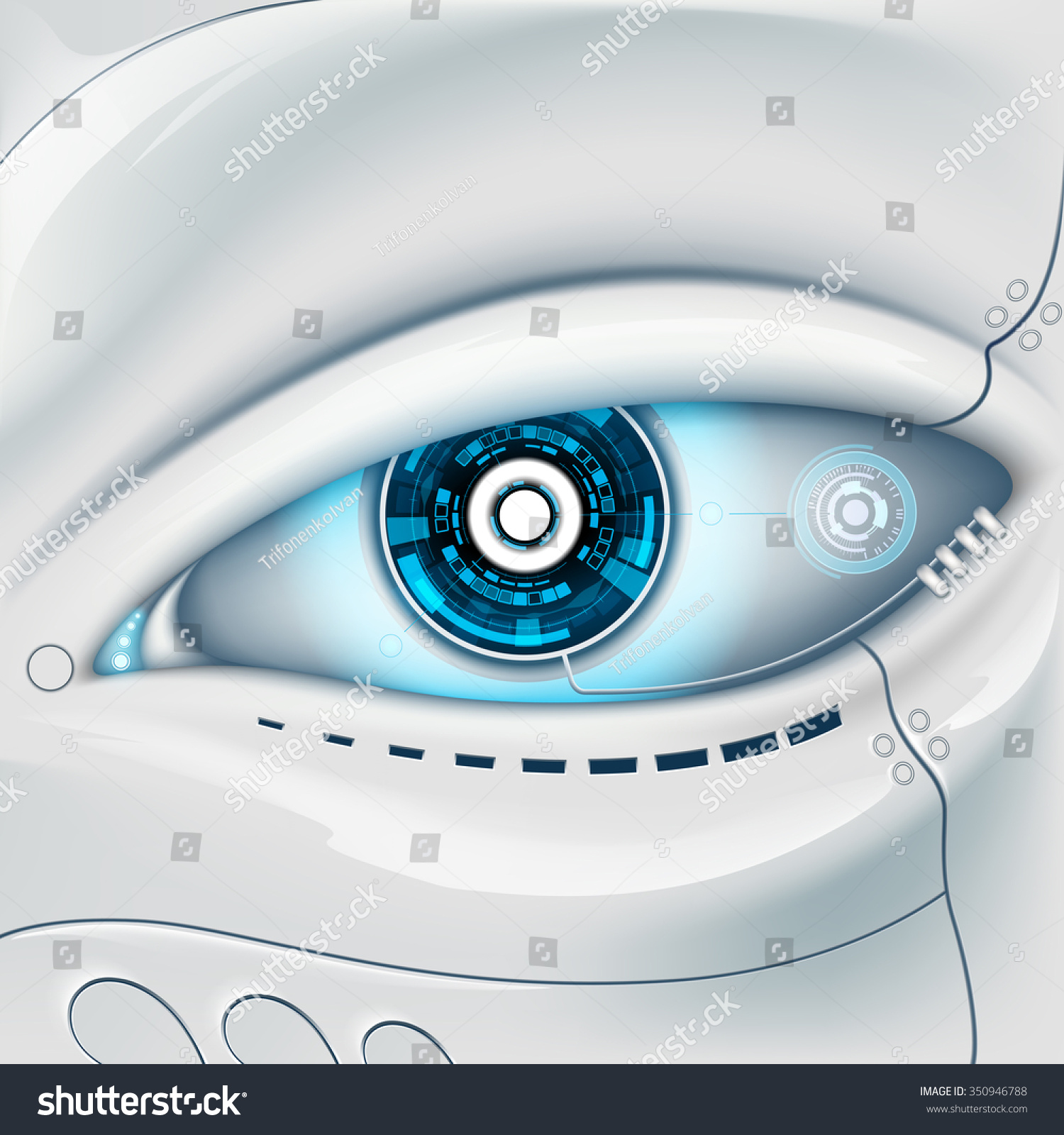 Eye of the robot Futuristic HUD interface Stock vector image