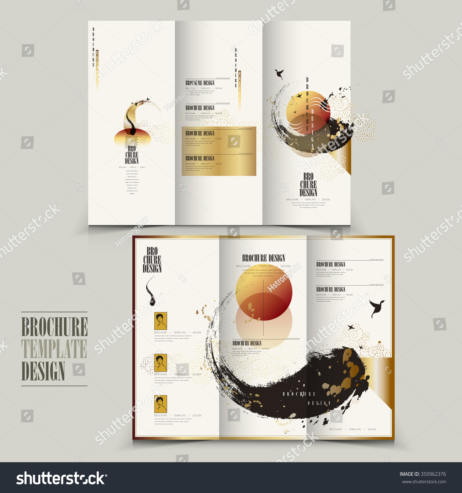 Modern tri fold brochure template design with attractive for Attractive brochure designs
