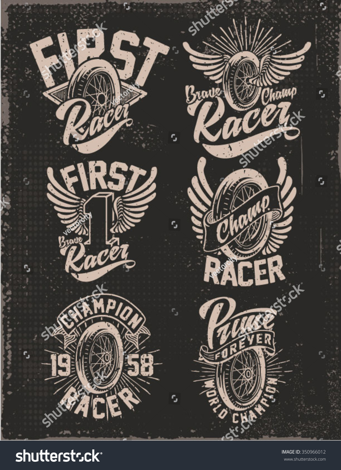 one color vintage motorcycle graphic tee print set