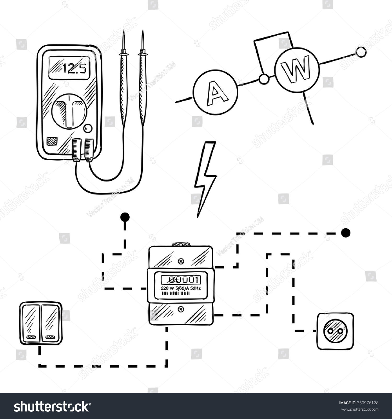 Digital Voltmeter Electricity Meter Socket Switches Stock Vector Wiring Diagram Icons With And Electrical Circuit Sketch