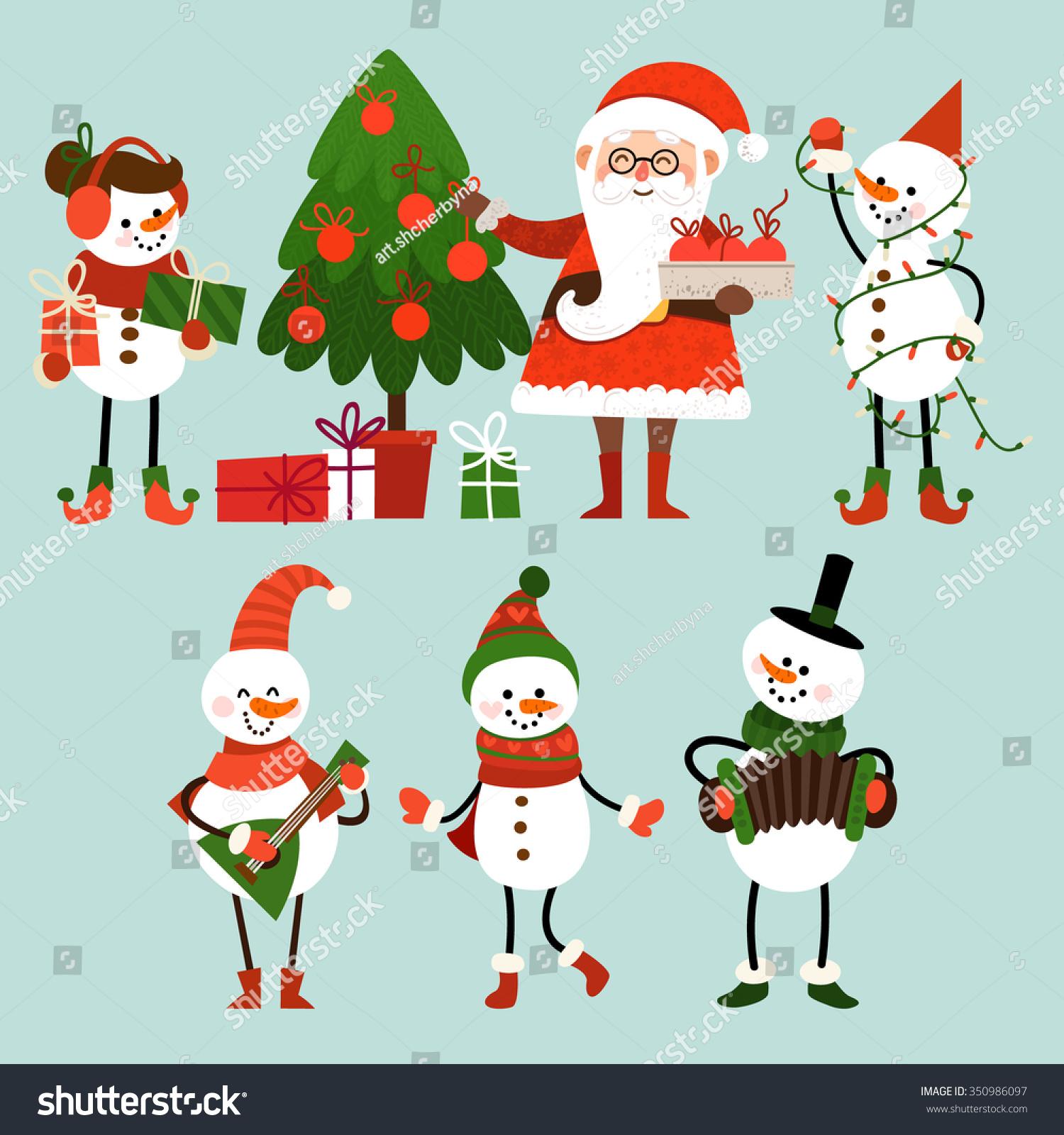 set christmas characters cartoon style santa เวกเตอร สต อก