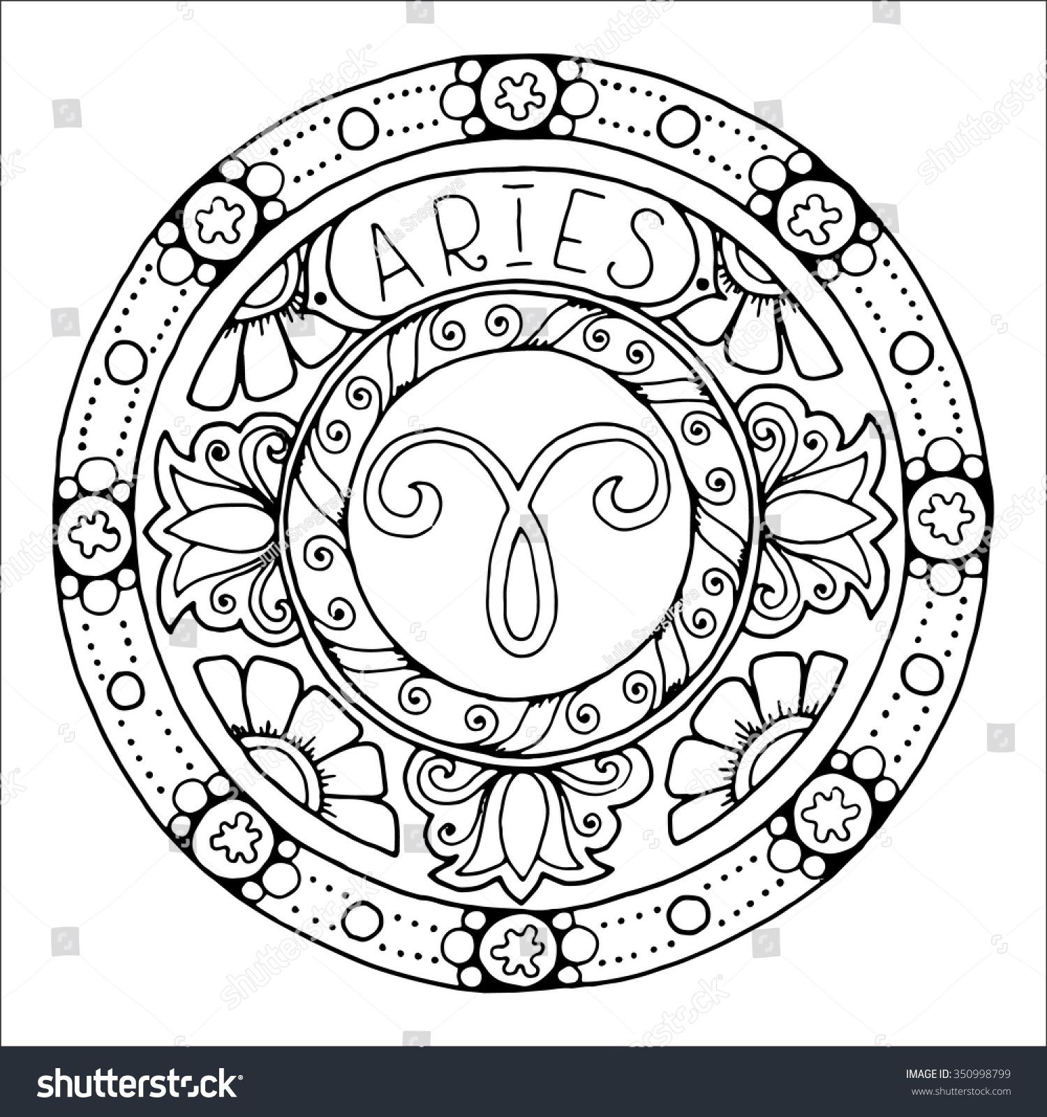 Zodiac Sign Aries Constellation Mandala Ethnic Stock