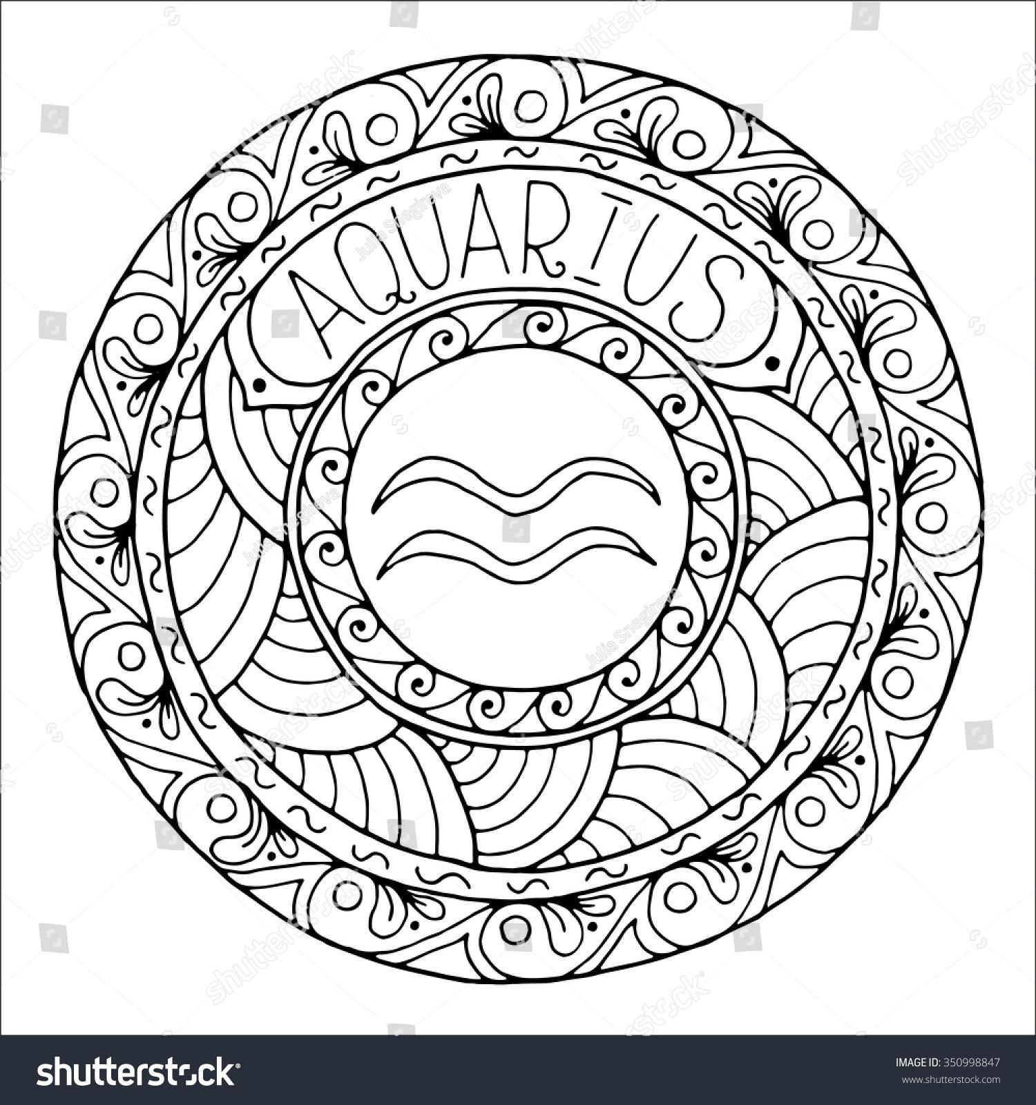 Zodiac Sign Aquarius Constellation Mandala Ethnic Stock
