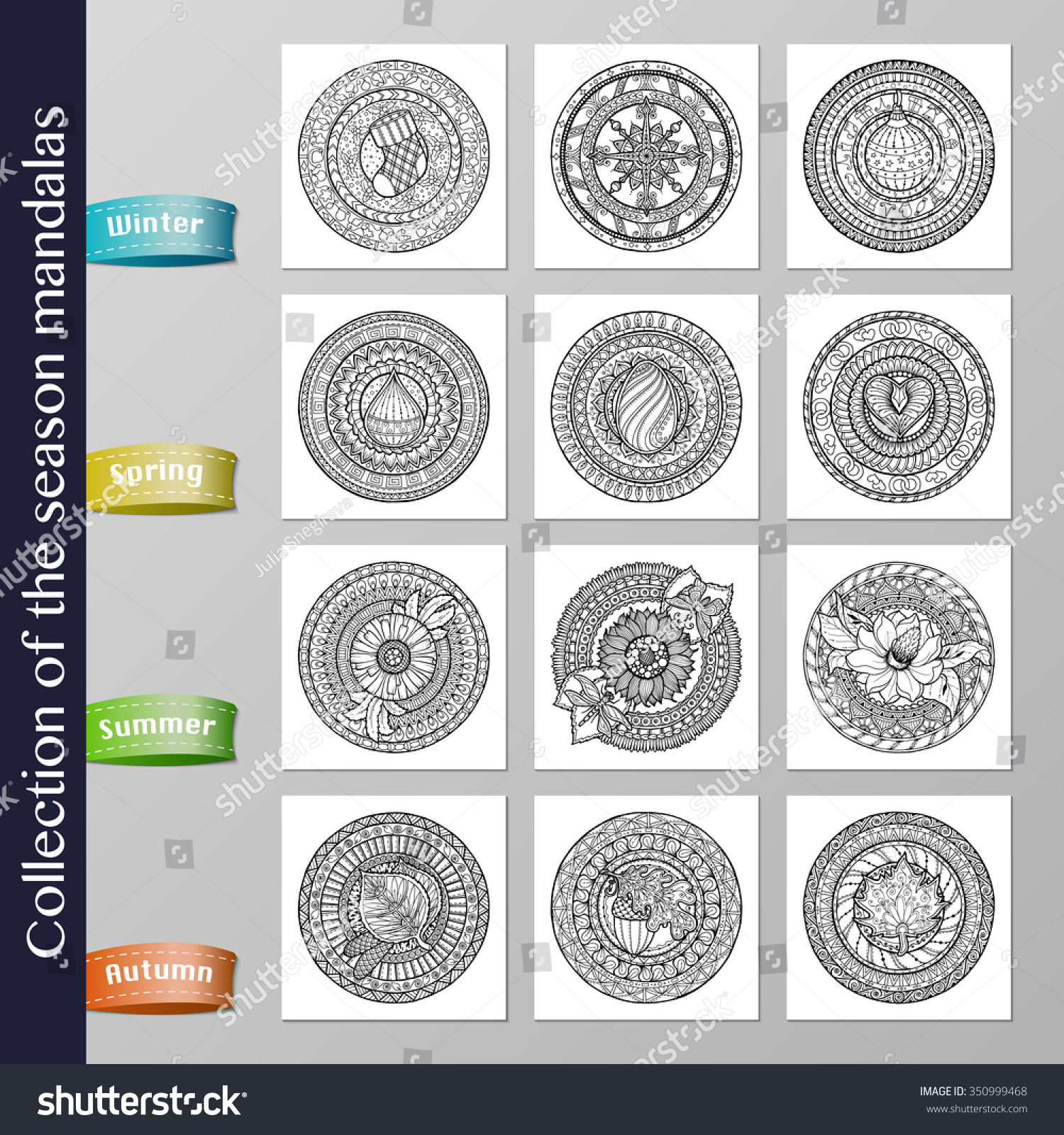 collection 12 doodle mandalas about seasons stock vector 350999468
