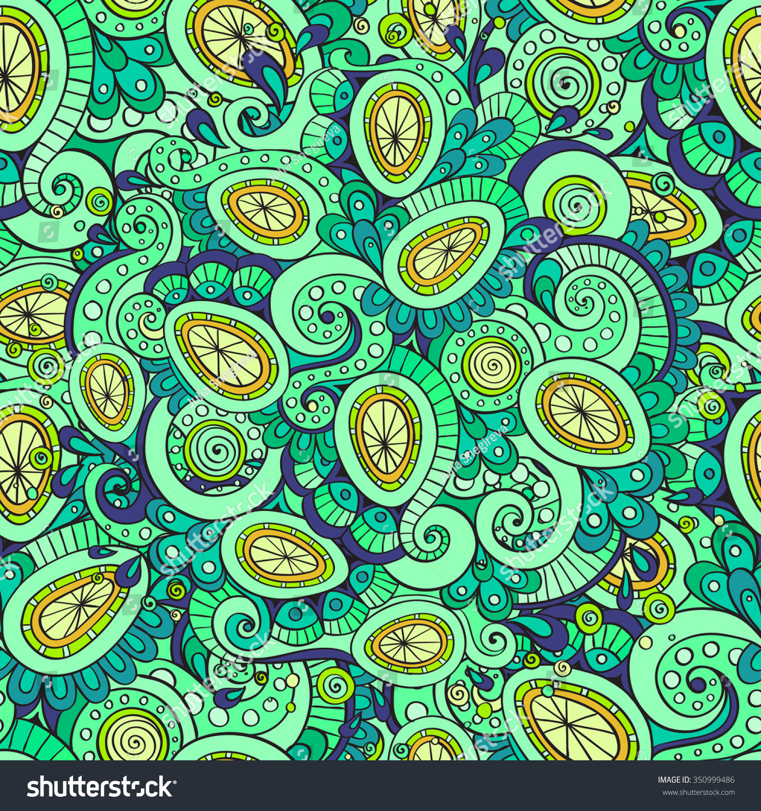 Seamless Ethnic Floral Doodle Colorful Background Stock Vector