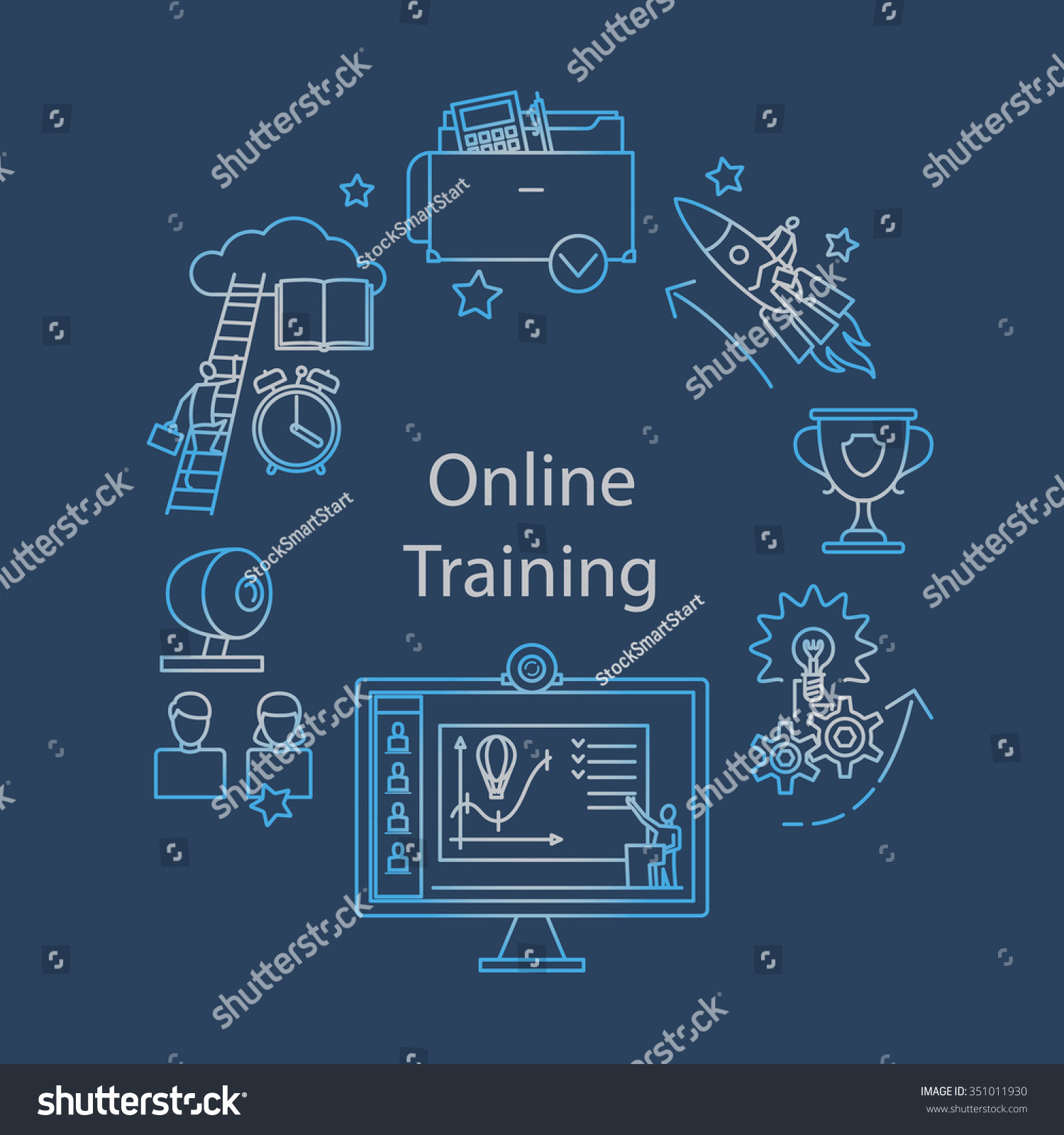 Webcast Elearning Online Event Outline Icon Stock Vector 351011930 ...