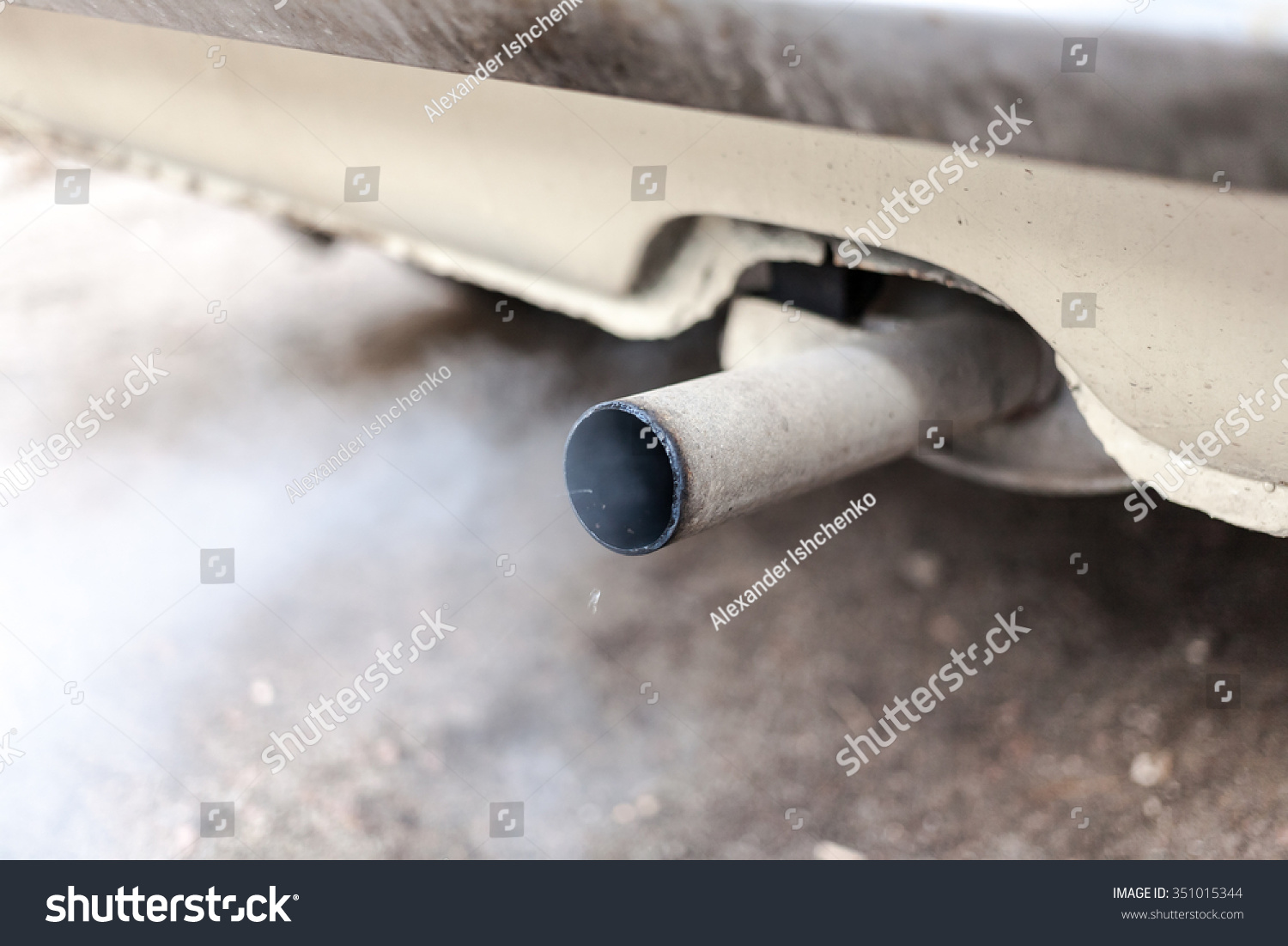 Exhaust Coming Out Of A Car ~ Combustion fumes coming out car exhaust stock photo