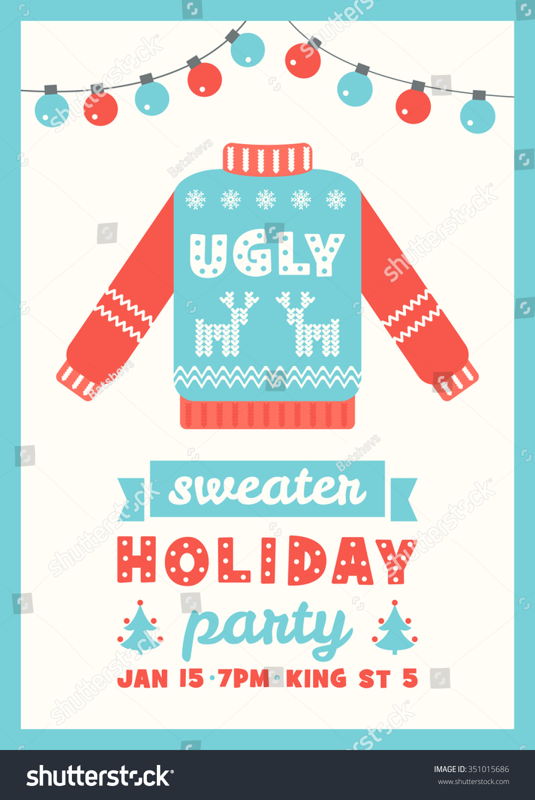 Ugly Sweater Holiday Party Invitation Card Stock Vector Royalty