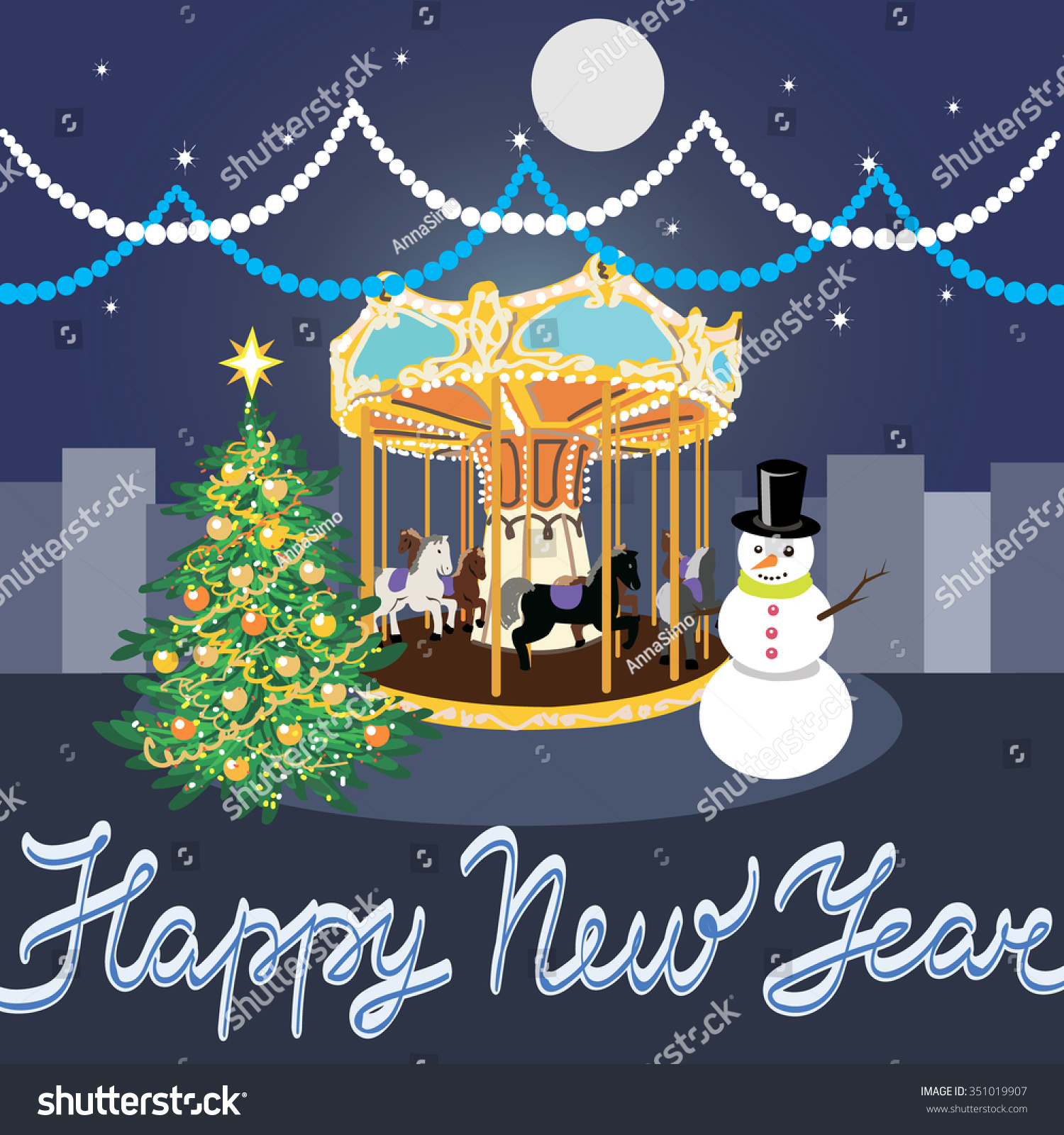 Christmas New Year Greeting Card Snowman Stock Vector Royalty Free