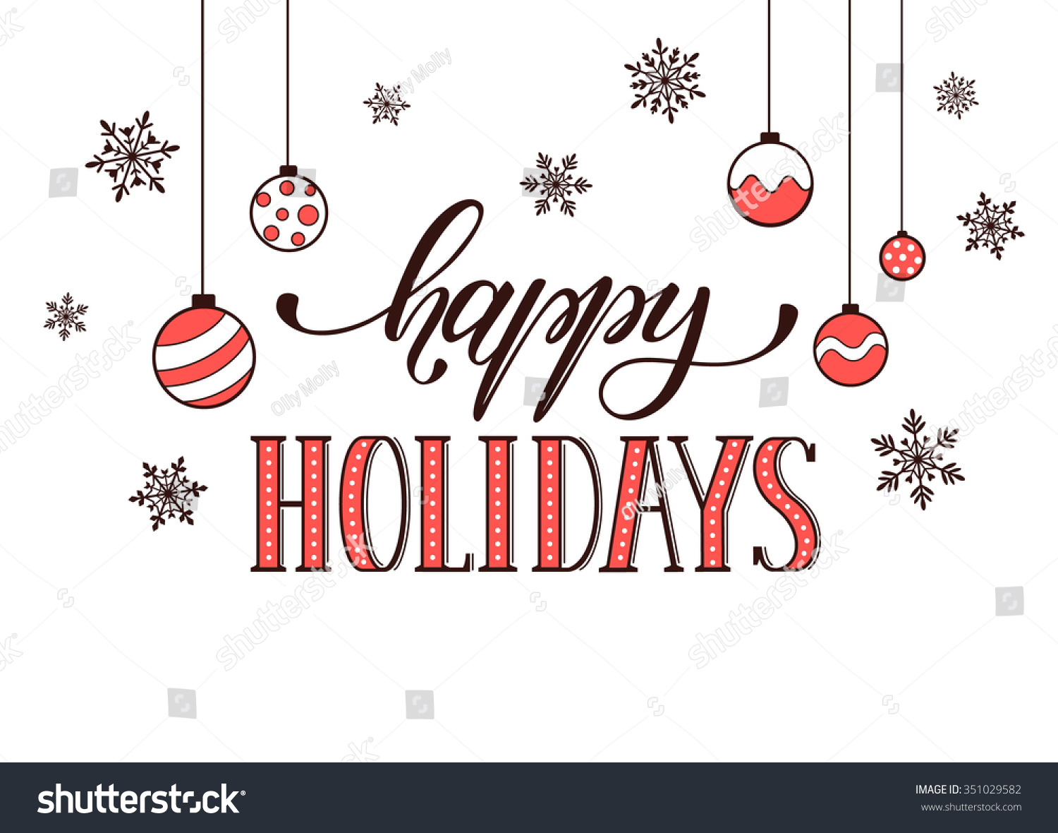 happy holidays postcard template modern new stock vector 351029582 happy holidays postcard template modern new year lettering snowflakes isolated on white background