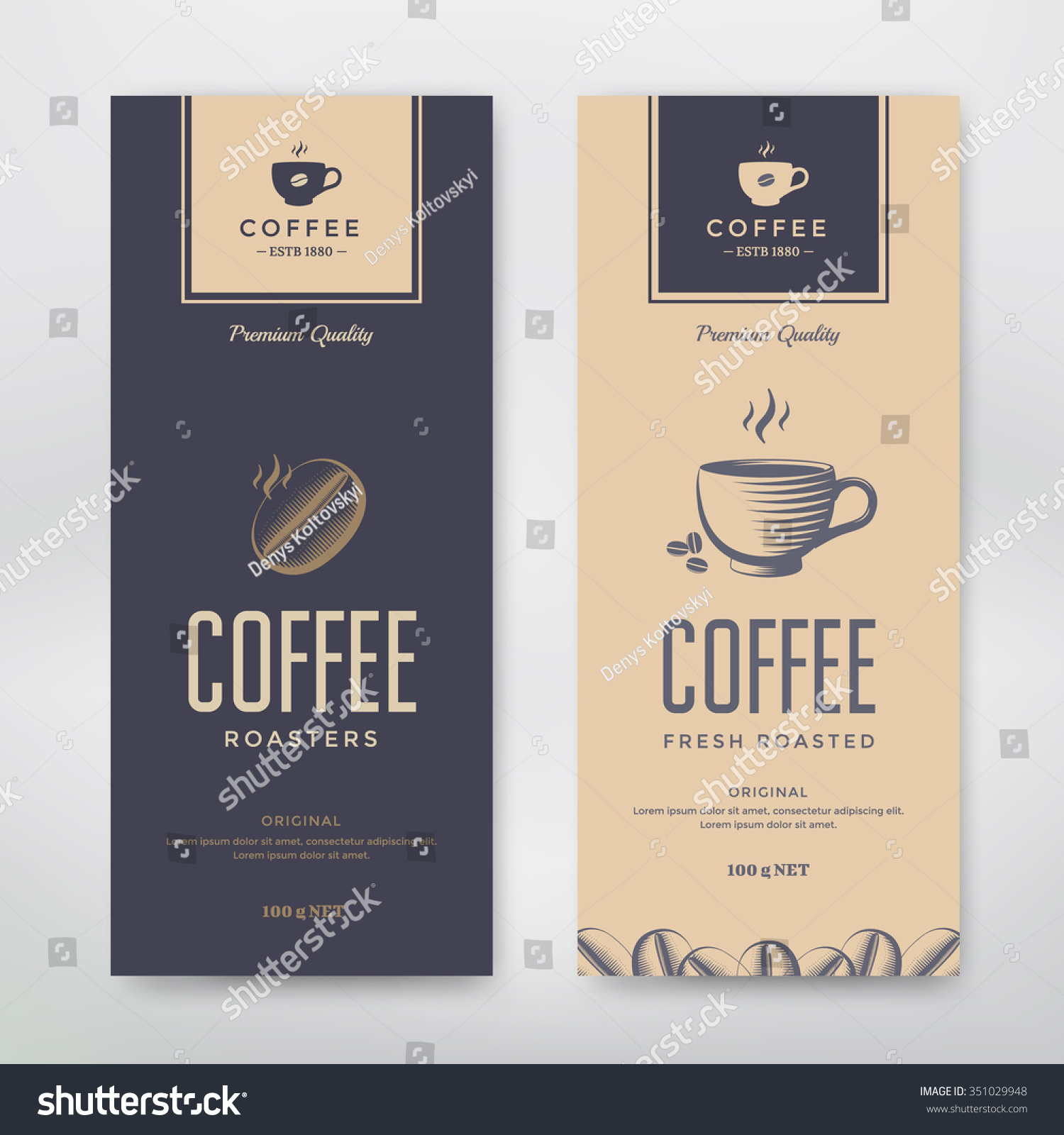 coffee packaging design vector template package stock vector 351029948 shutterstock. Black Bedroom Furniture Sets. Home Design Ideas