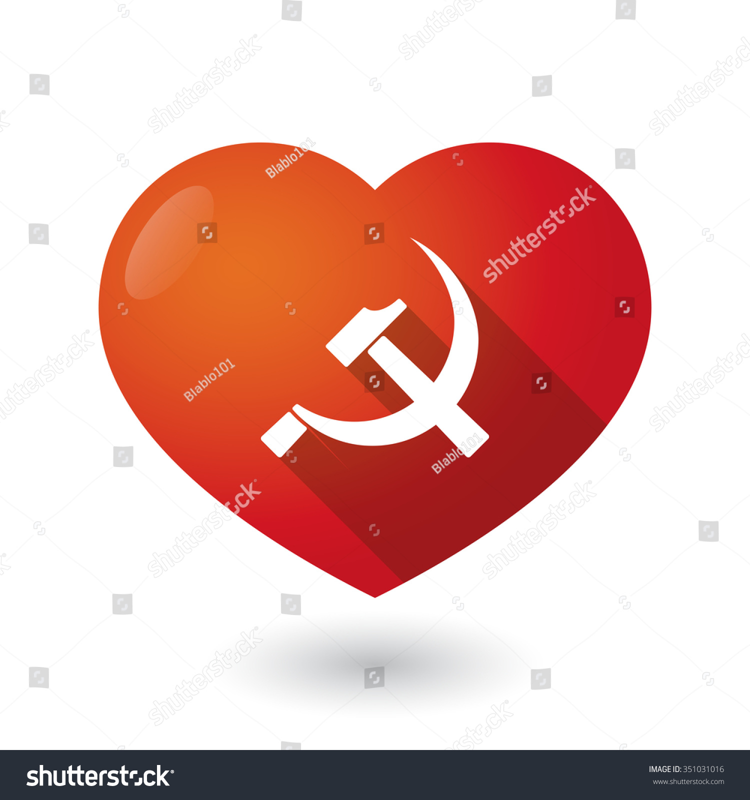 Illustration Isolated Red Heart Communist Symbol Stock Vector
