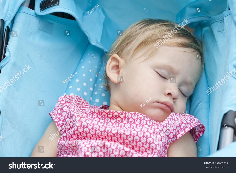 Sweetest Blonde Toddler Girl Sleeping Healthy Stock Photo