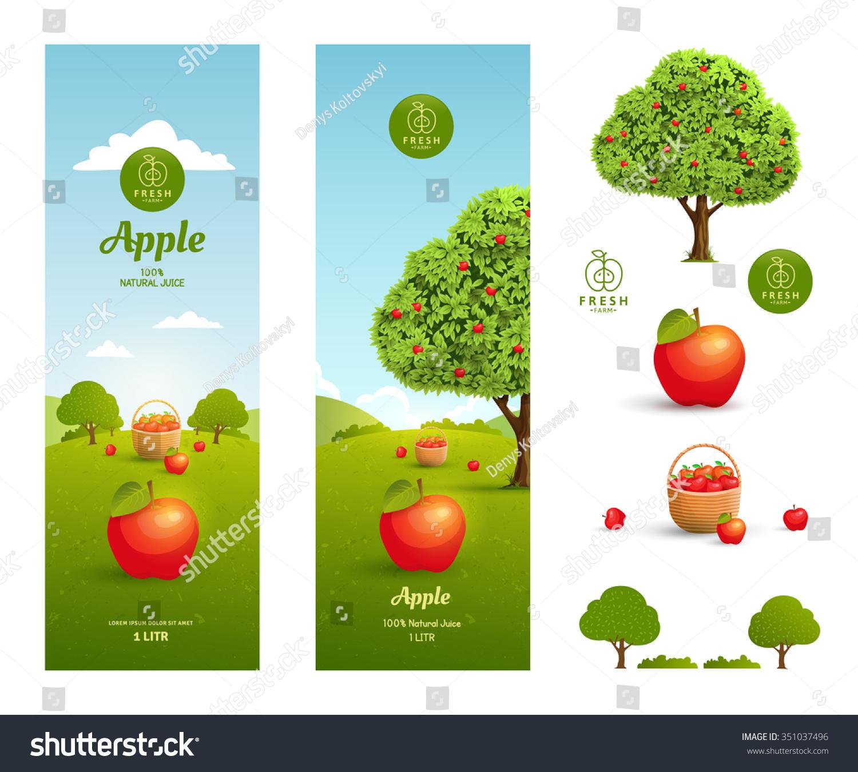 Apple Juice Packaging Design Template Design Stock Vector Royalty