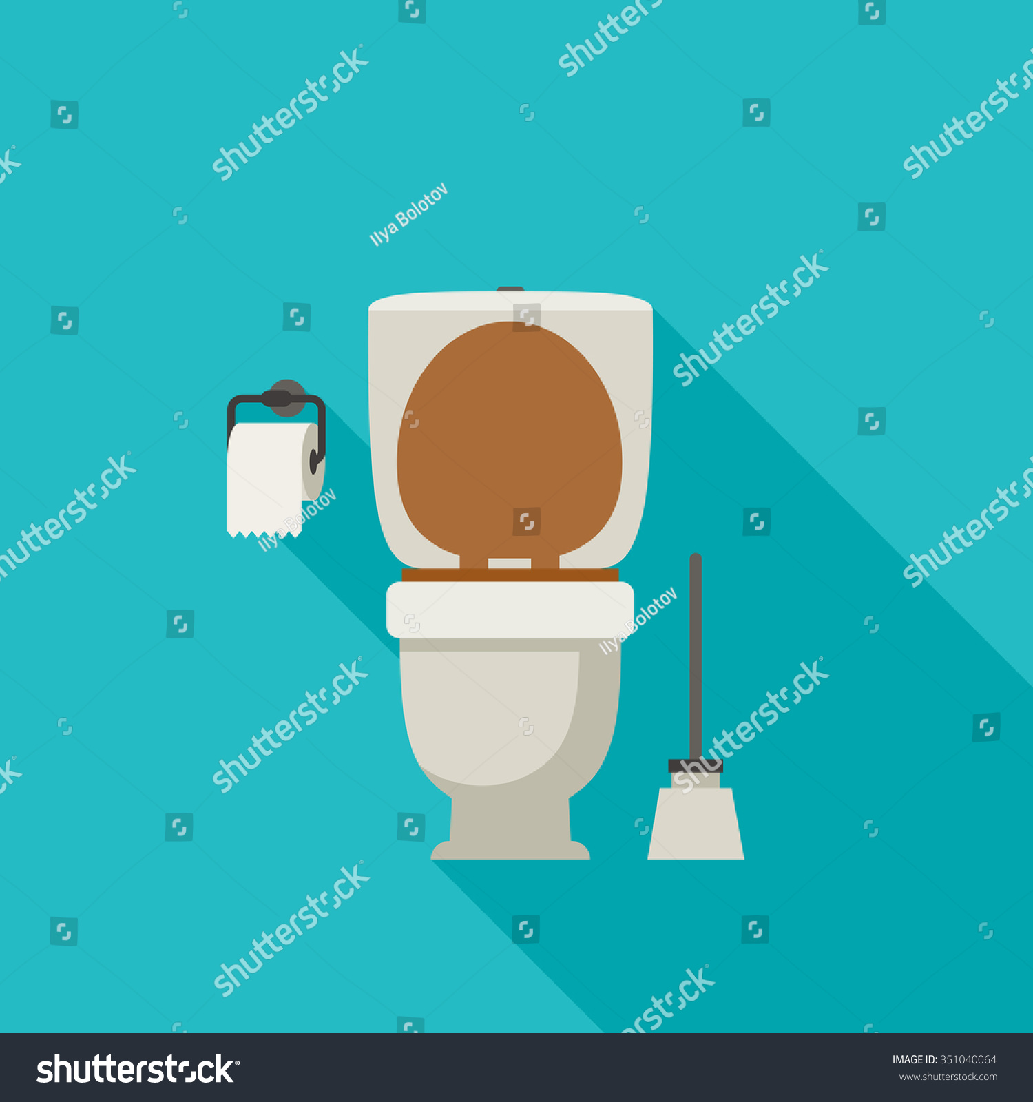 Toilet Flat Illustration Toilet Paper Toilet Stock Vector