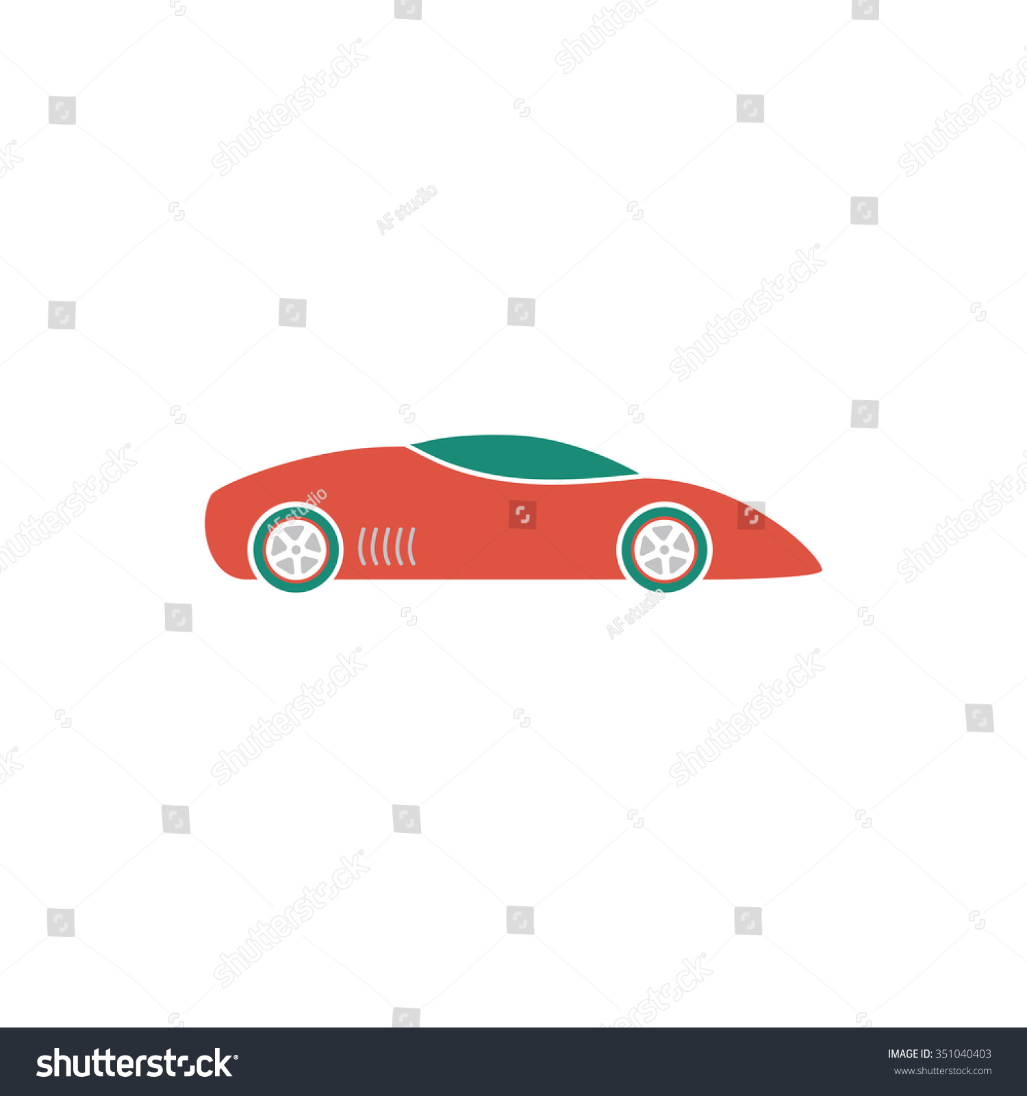 Silhouette Of Sport Car For Racing Sports Colorful Pictogram Symbol