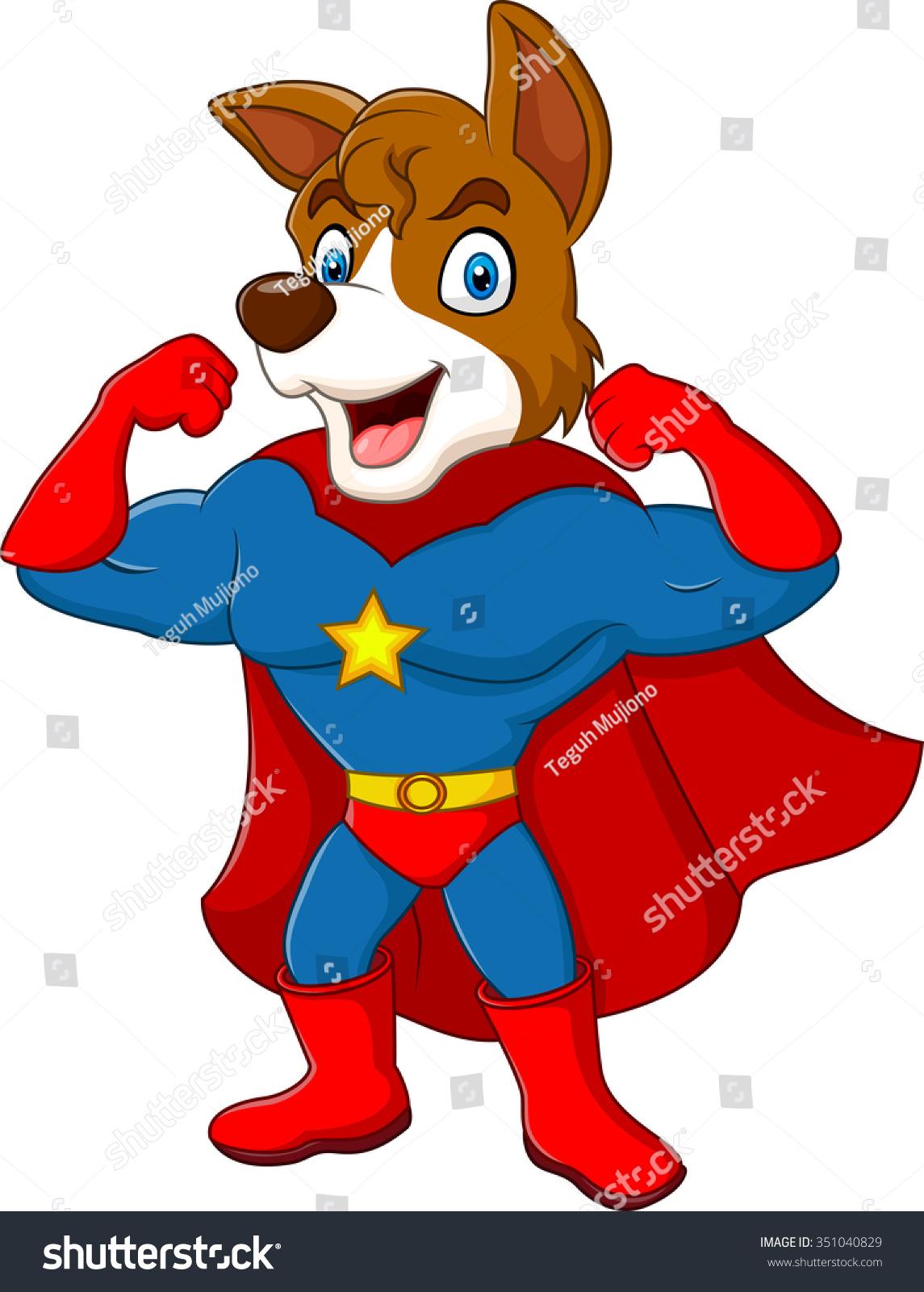 Cartoon Superhero Dog Posing Isolated On Stock Vector 351040829 ...