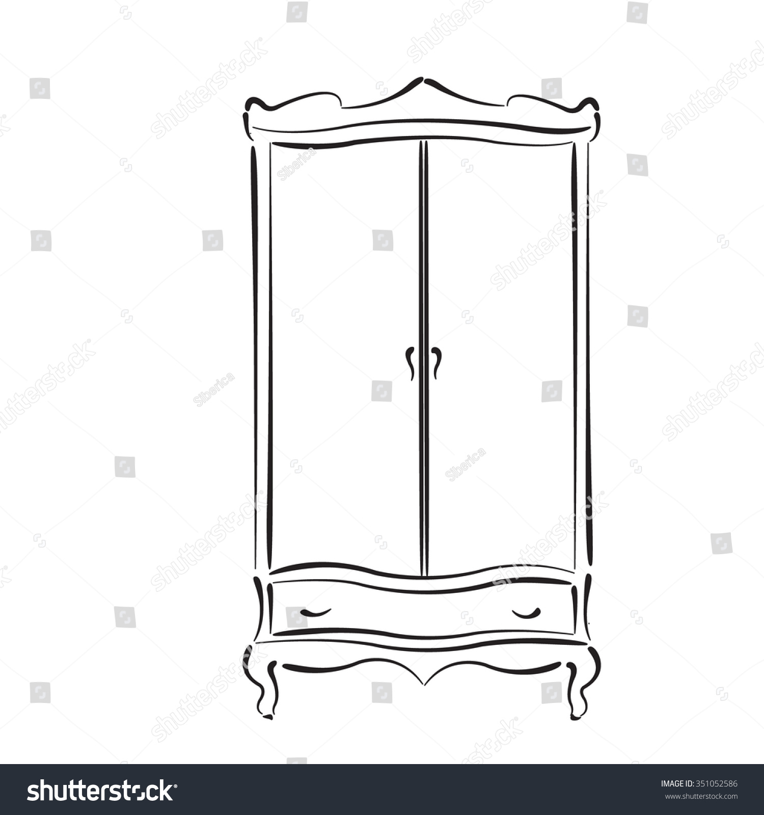 Sketched Vintage Wardrobe. Vintage Closet Vector Illustration.
