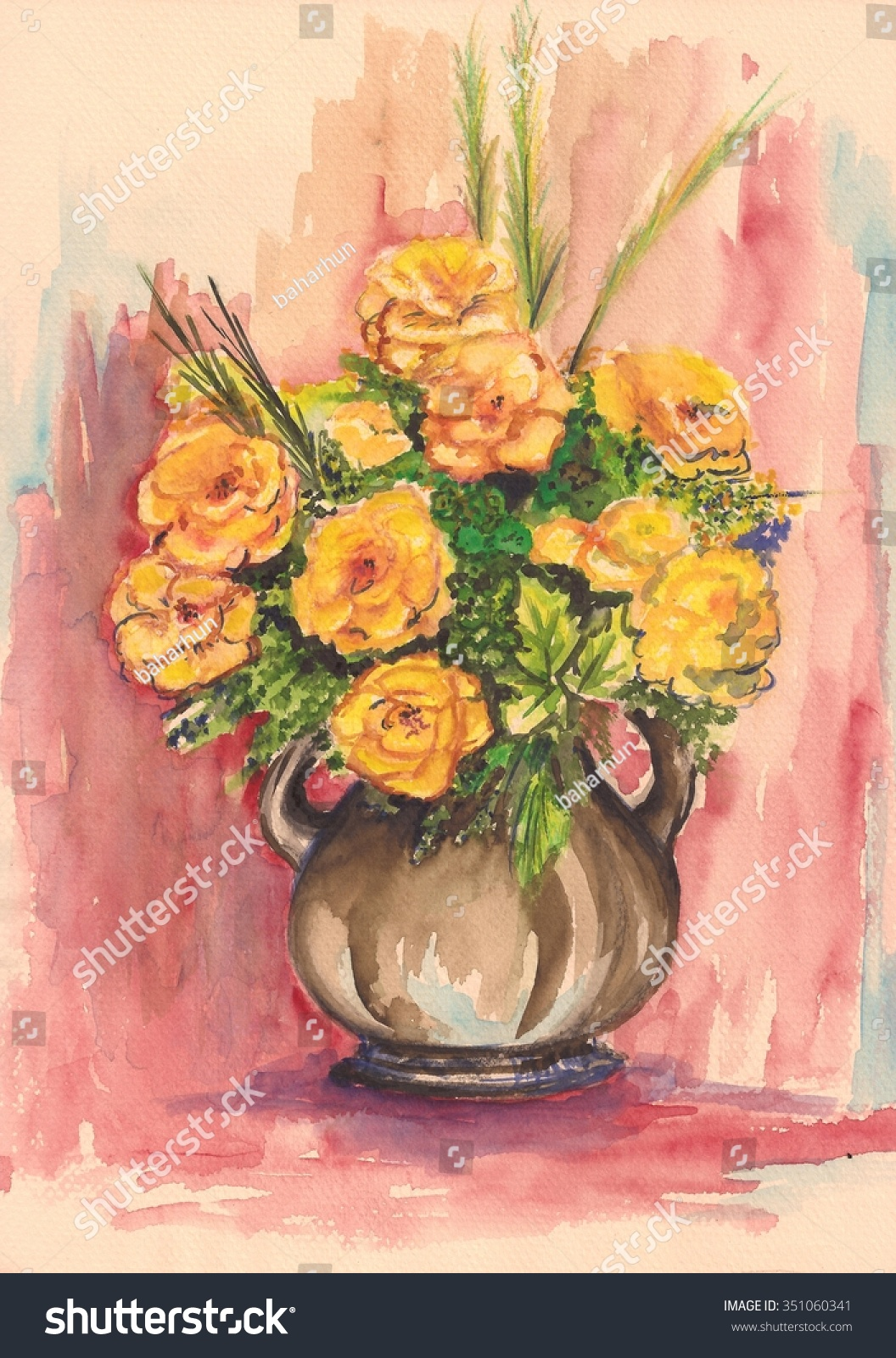 Watercolor Rose Bouquet In Vase Yellow Flowers Handmade Painting Hand Drawn  Art