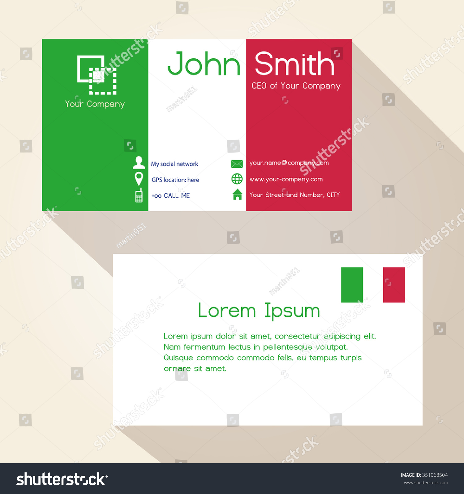 simple colors business card design stock vector 351068504 simple colors business card design eps10