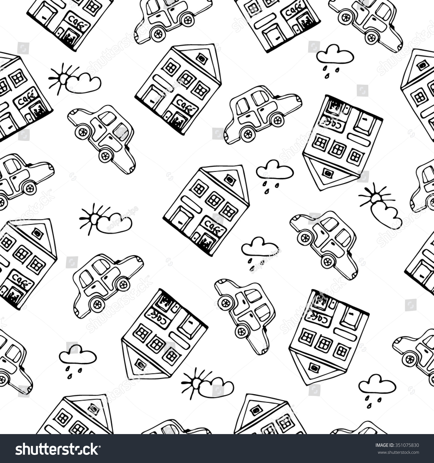 Seamless pattern with hand drawn sketch of detached french house with big windows and cartoon car