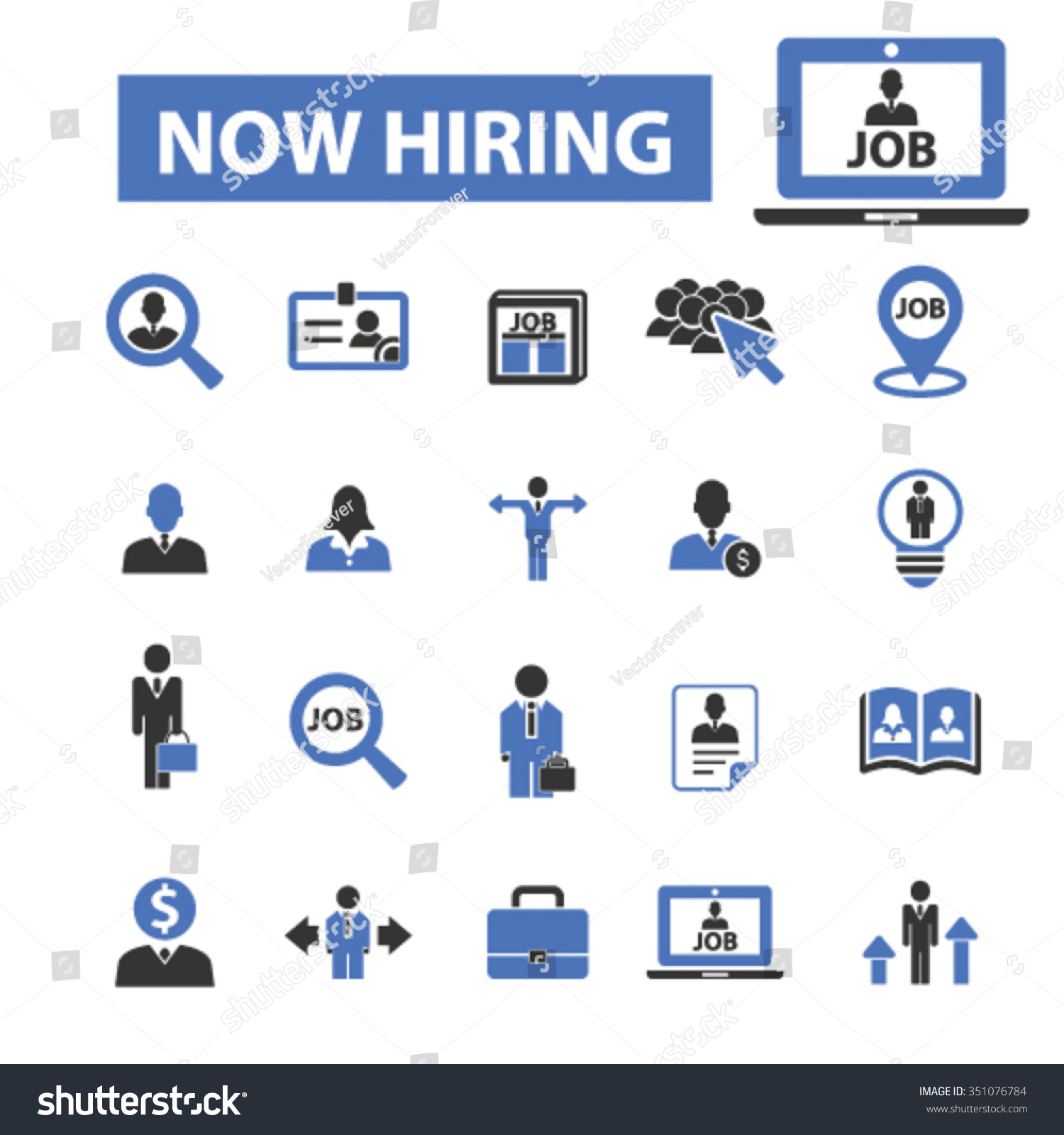 now hiring career human resources job stock vector 351076784 now hiring career human resources job cv icons set