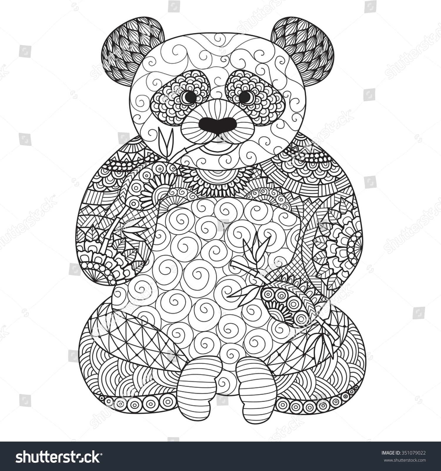 Hand Drawn Zentangle Panda Coloring Book Stock Vector