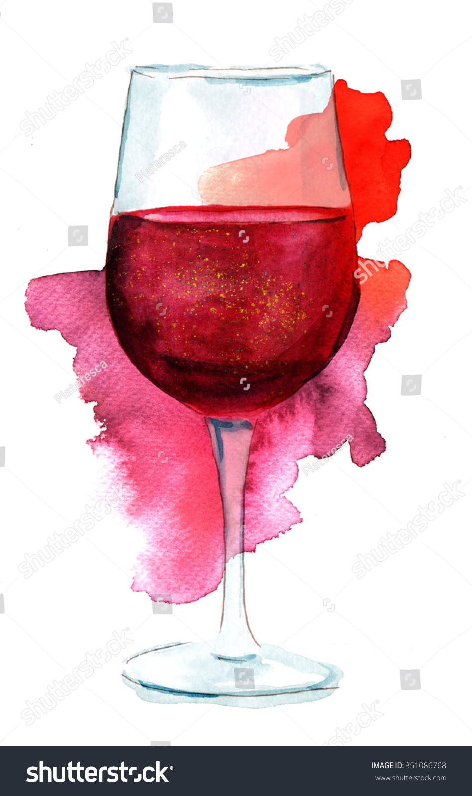 Wine Collage Watercolor Drawing Glass Red Stock
