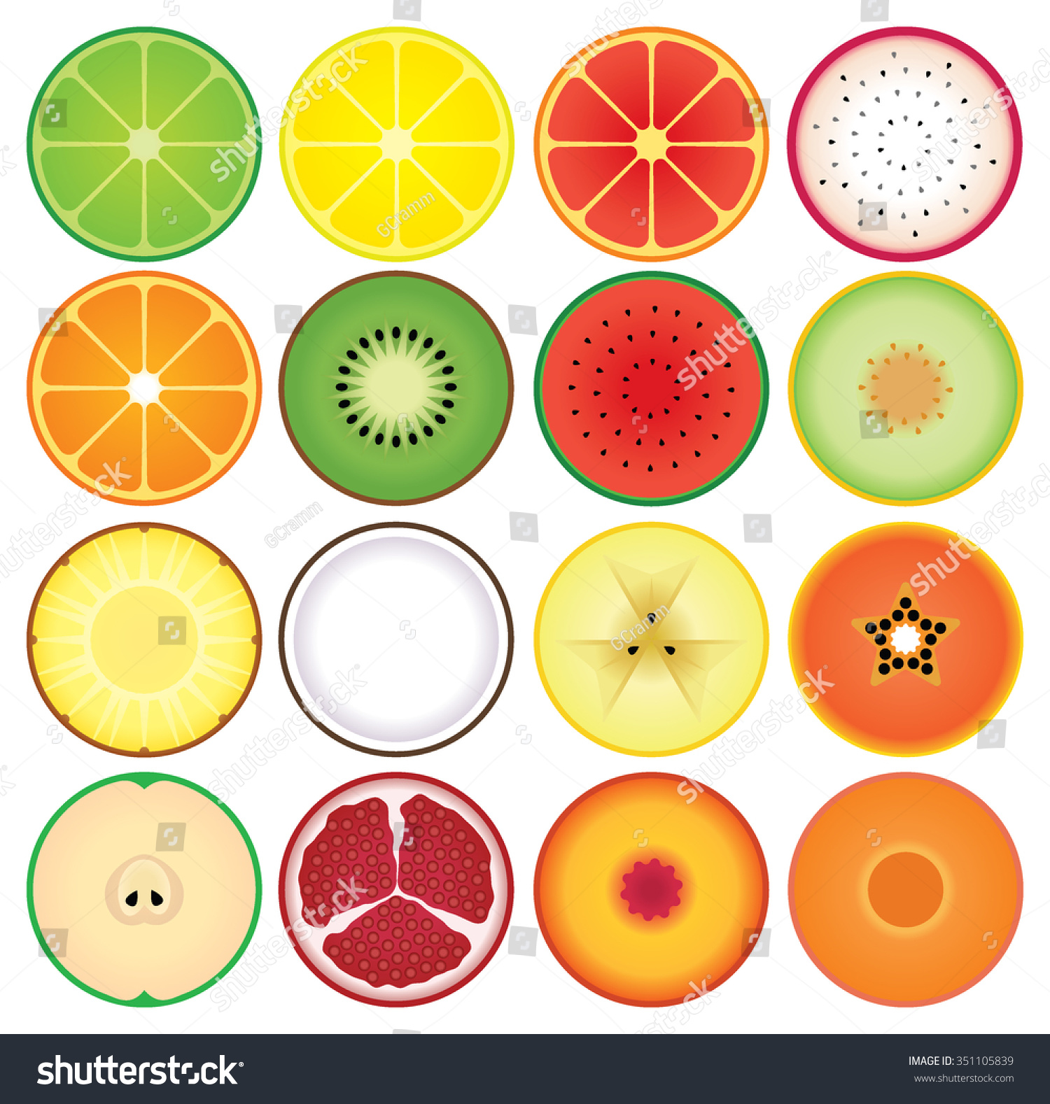 set round summer fruit slice icons stock vector royalty free