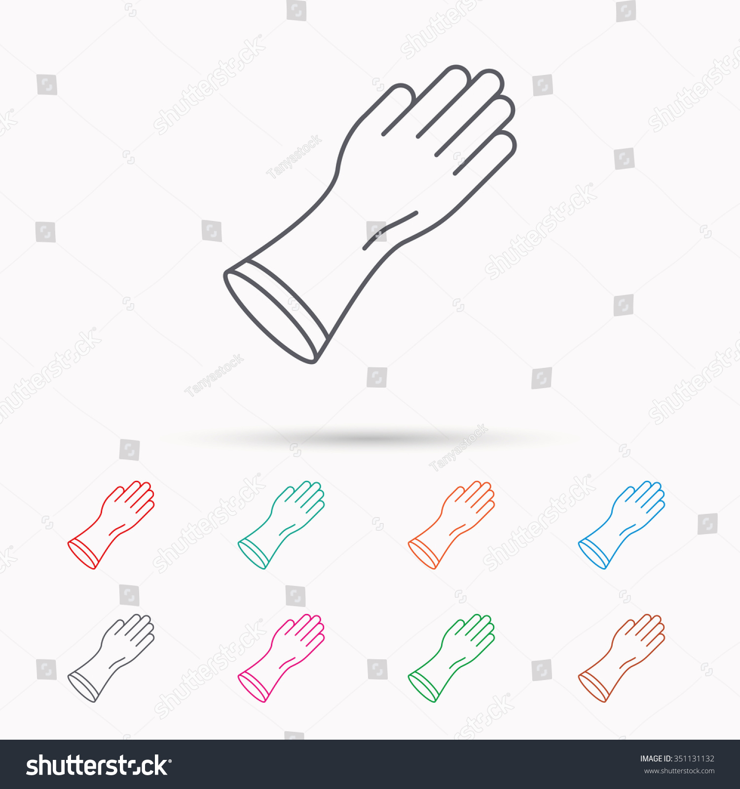 Rubber gloves icon latex hand protection stock vector 351131132 latex hand protection sign housework cleaning equipment symbol linear icons biocorpaavc
