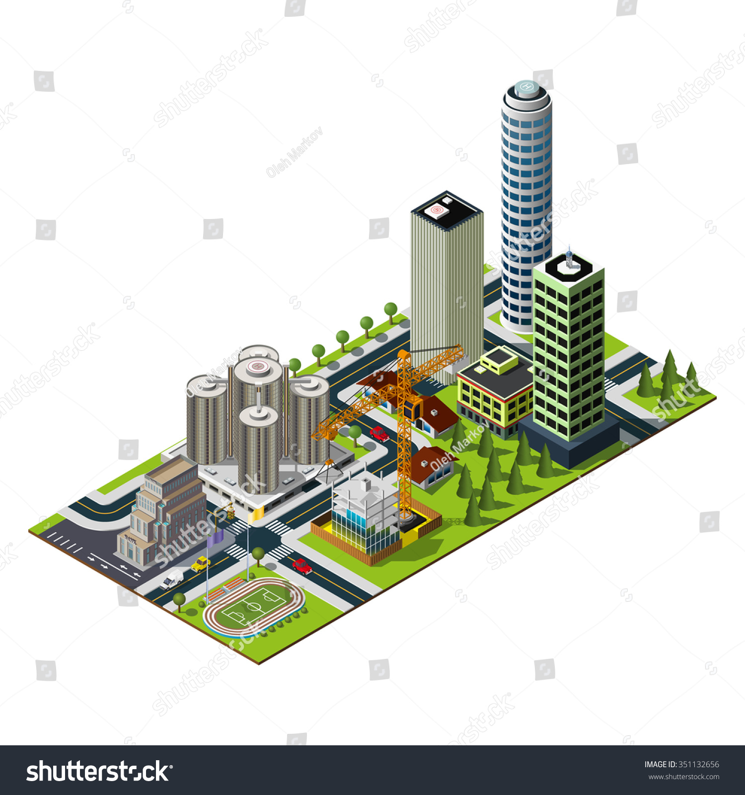 Hotel Bank Illustration Construction Central Stadium Stock Vector