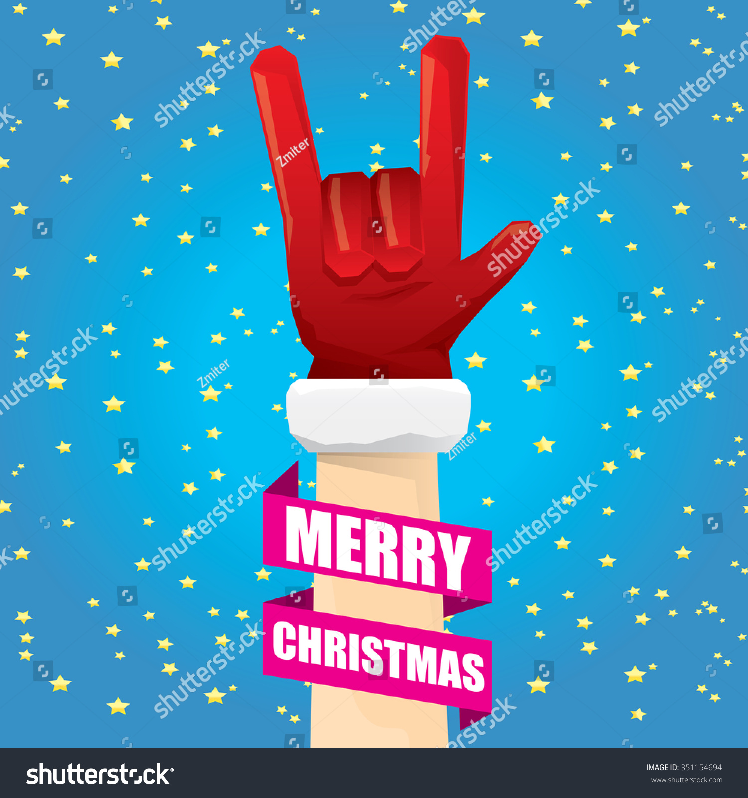 Rock n roll poster design - Santa Claus Hand Rock N Roll Icon Vector Illustration Christmas Rock N Roll Concert Poster