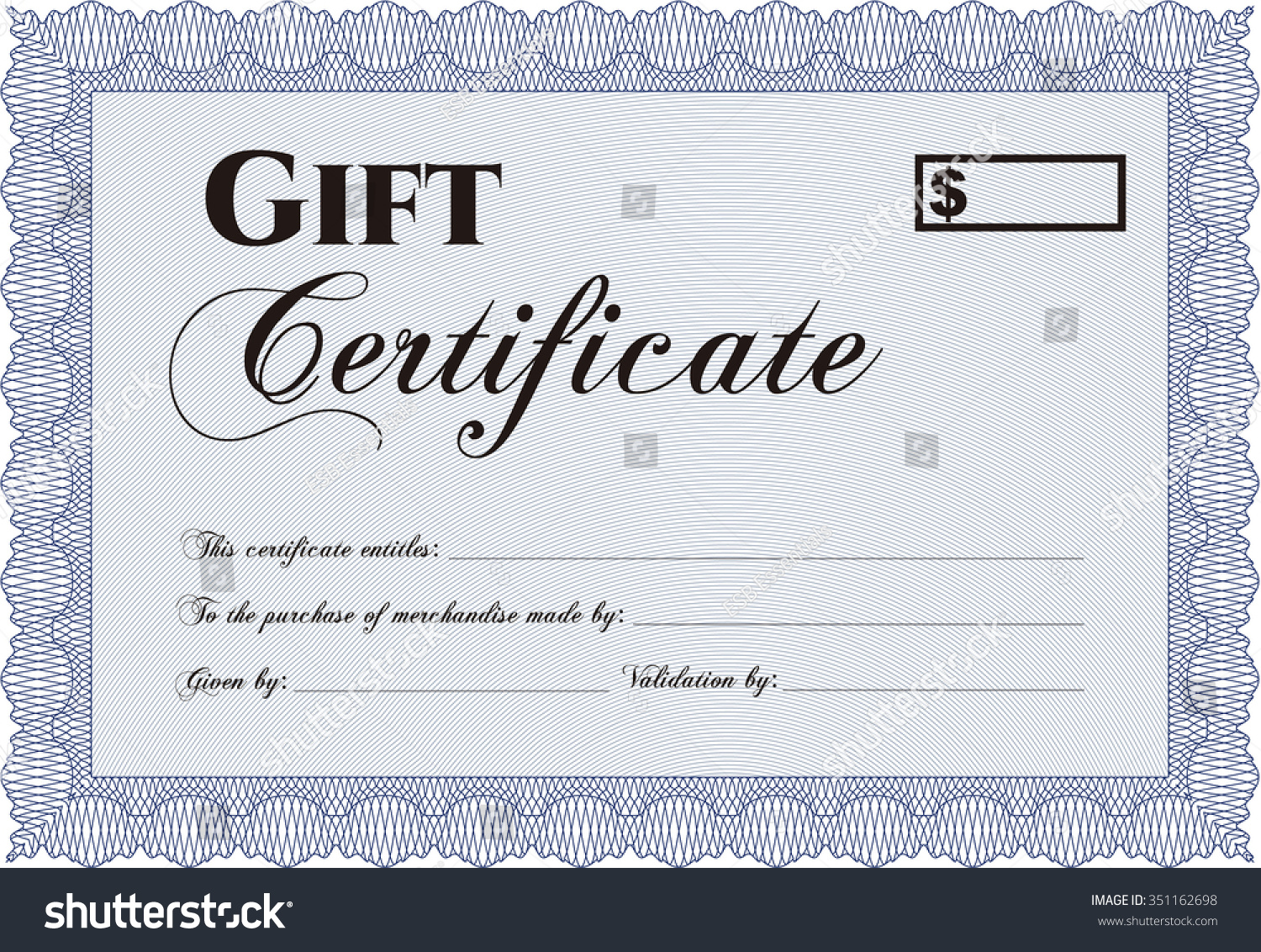 Gift Certificate Template Complex Background Customizable Stock