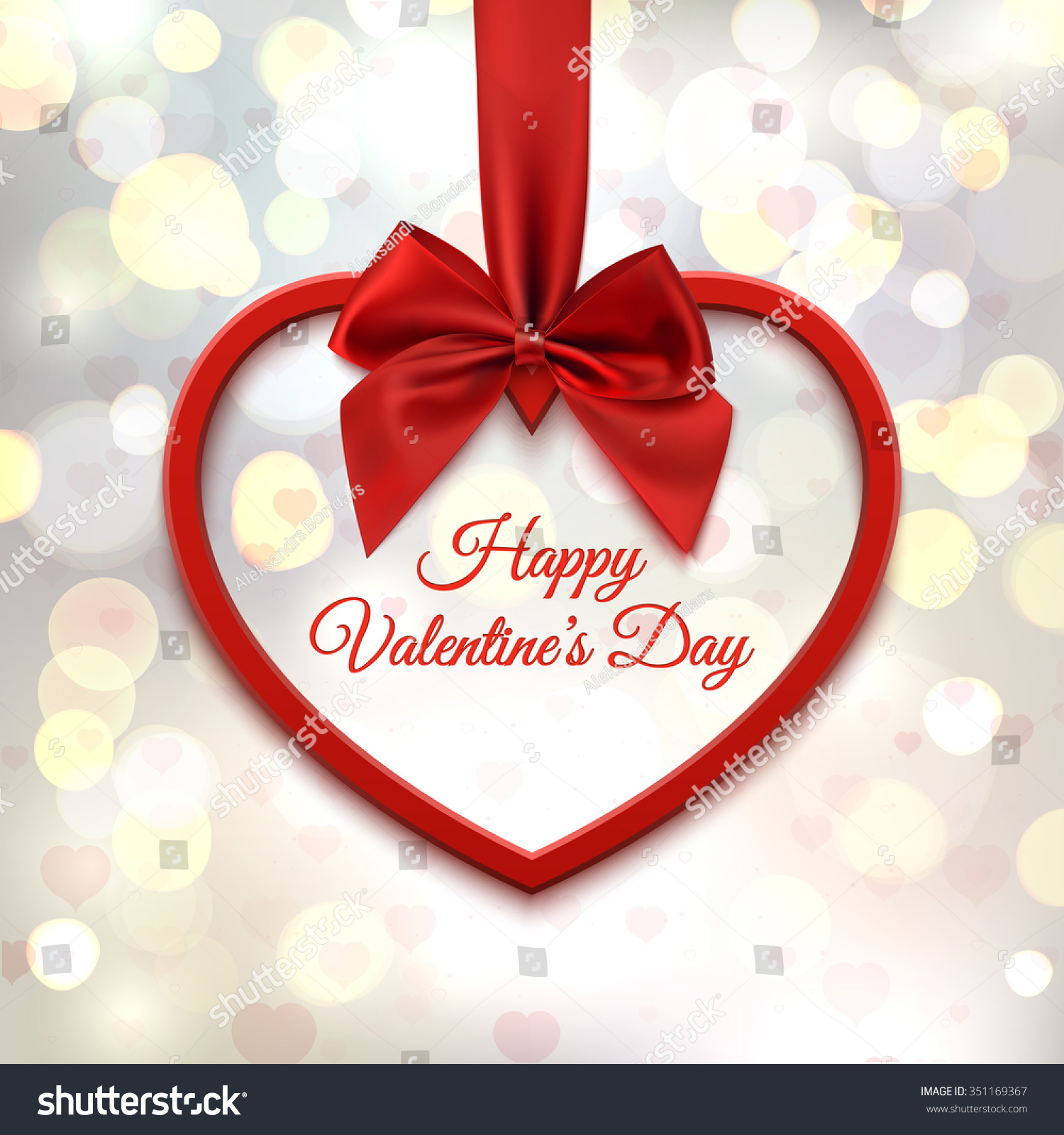Happy valentines day greeting card template stock vector 351169367 happy valentines day greeting card template red heart with red ribbon and bow kristyandbryce Image collections