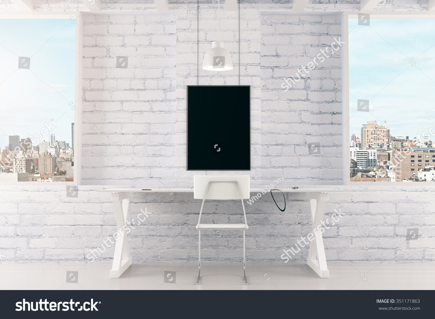 Plain wood table with hipster brick wall background stock photo - Blank Black Picture Frame On White Brick Wall And Windows In Loft Room Mock Up