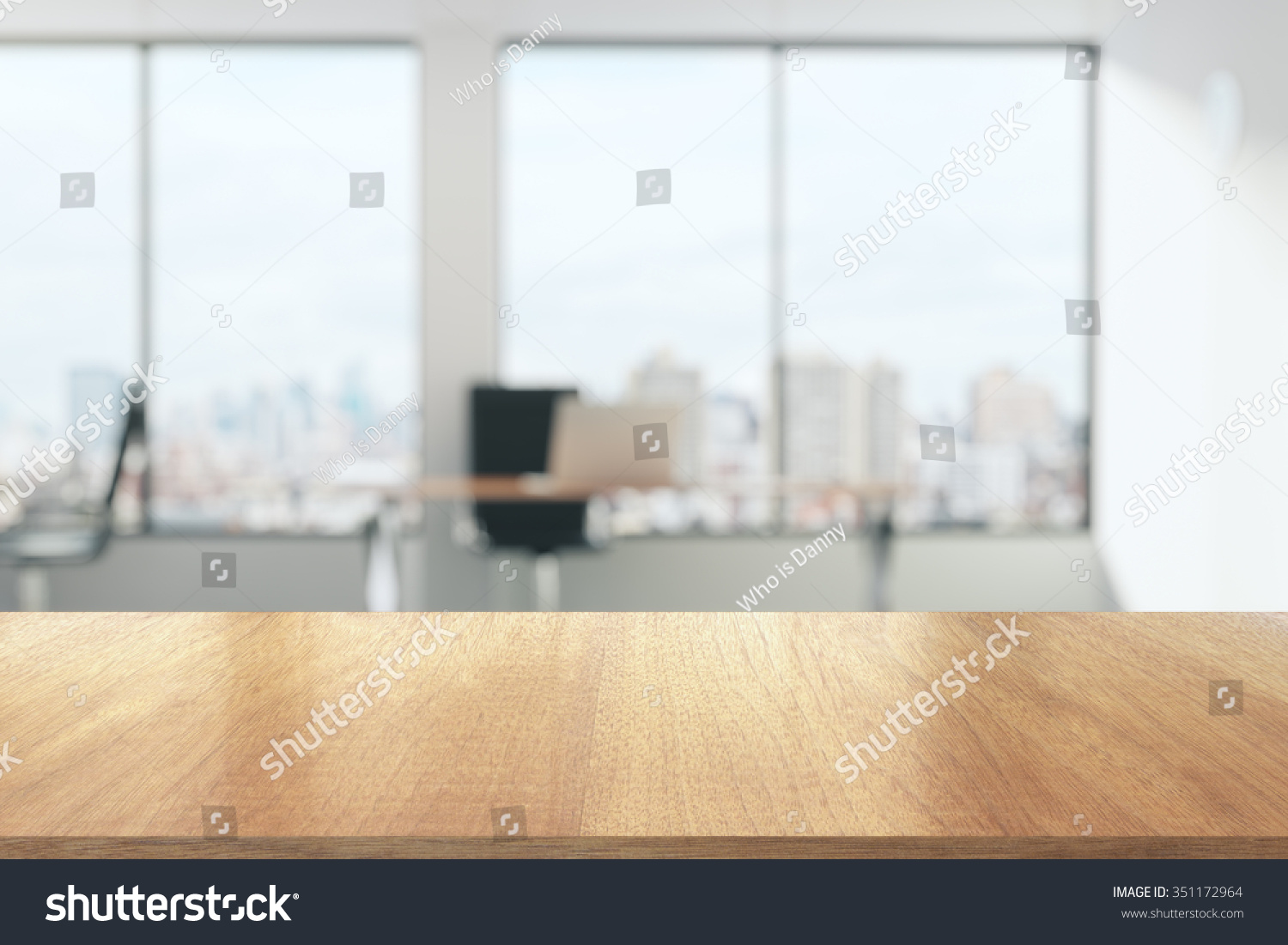 wooden table sunny office big windows stock photo 351172964
