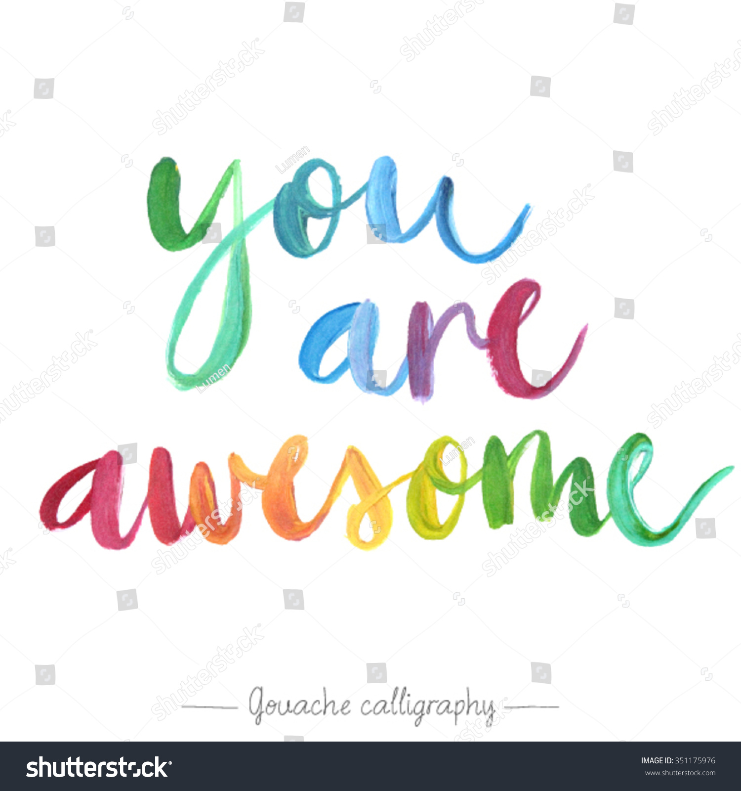 """Amazing Clip Art: """"You Are Awesome"""" Calligraphic Poster. Vector Illustration"""