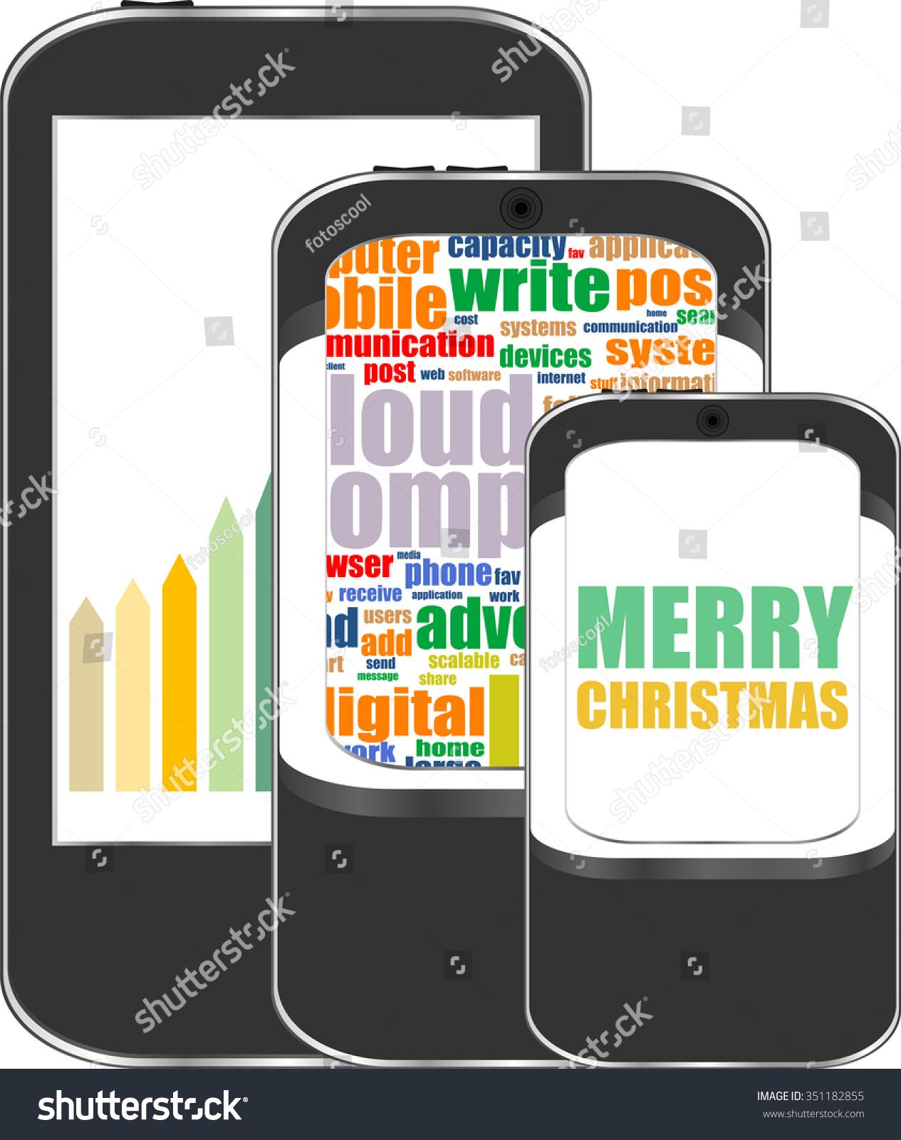 Smart Phone Merry Christmas Greetings On Stock Vector 351182855