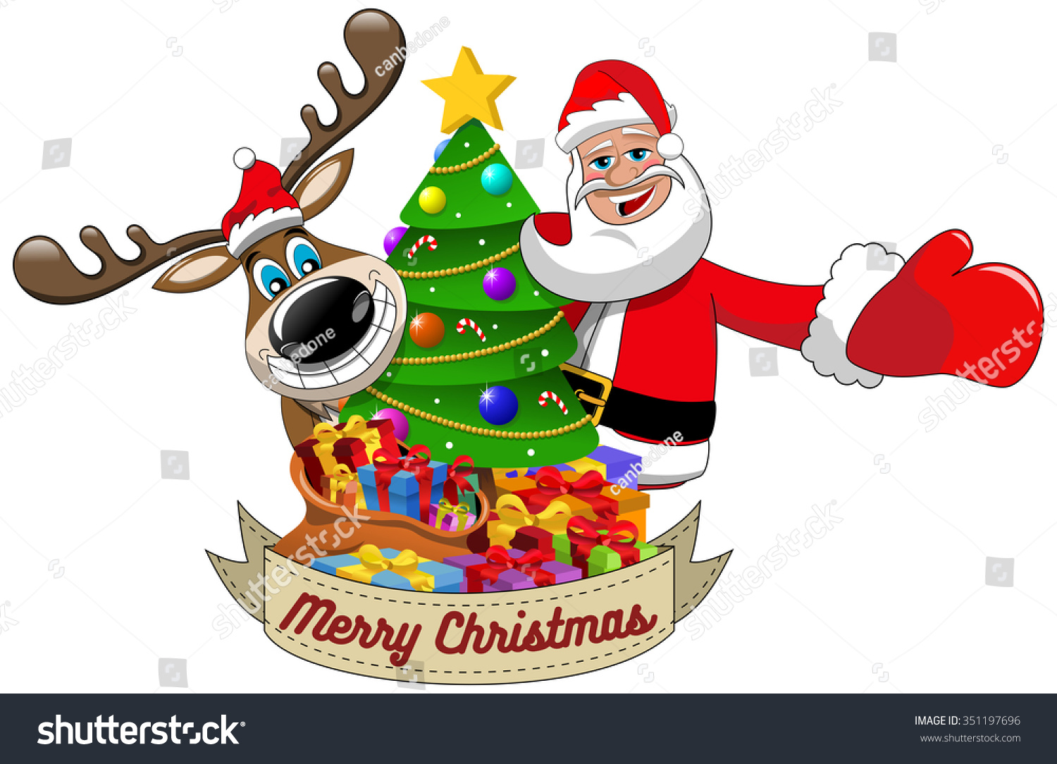 Cartoon Funny Reindeer Santa Claus Wishing Stock Vector ...