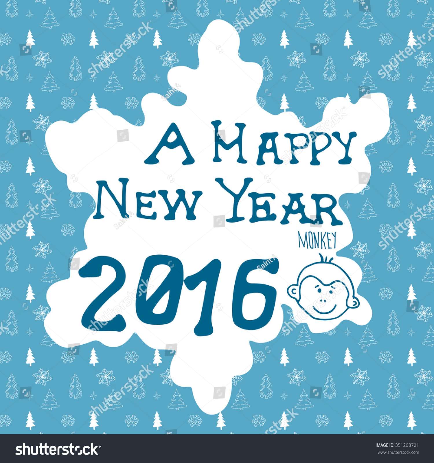 Hand drawn sketch design happy new stock illustration 351208721 hand drawn sketch design of happy new year 2016 greeting card doodles with lettering kristyandbryce Image collections
