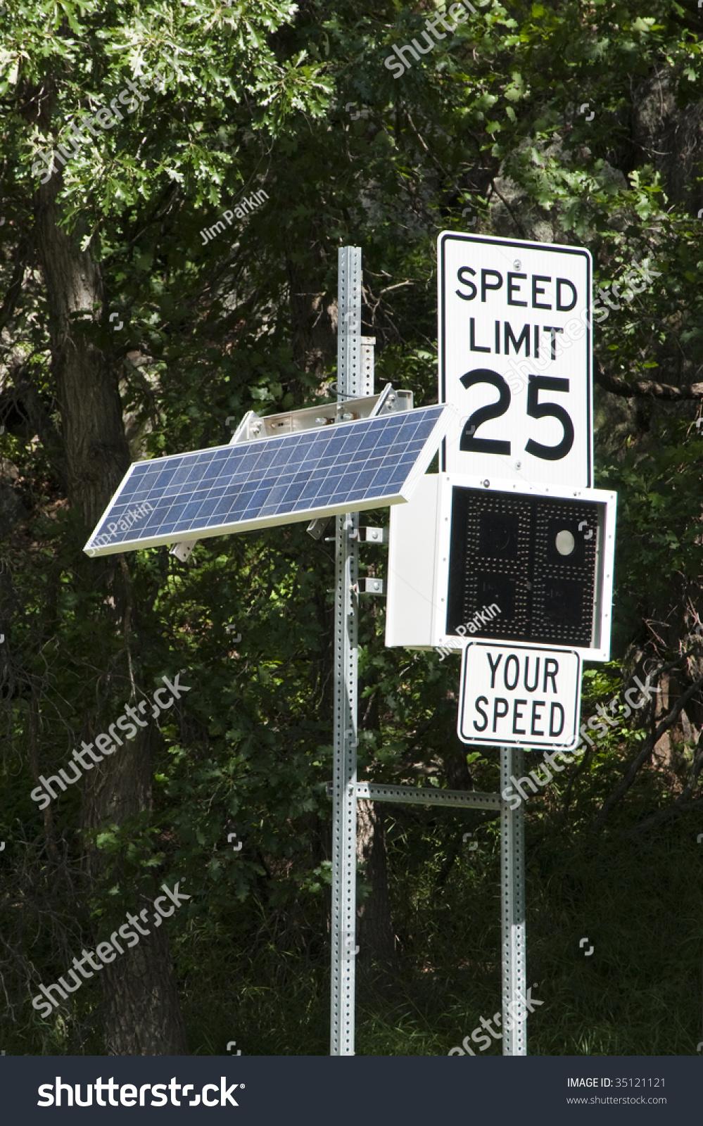 Solar Powered Radar Measured Speed Indicator Sign Stock