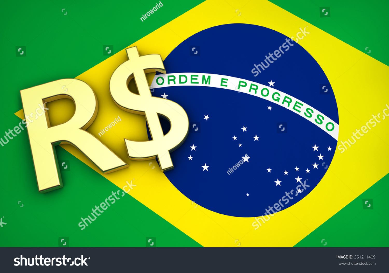 Brazils Economy Concept Brazilian Flag Real Stock Illustration