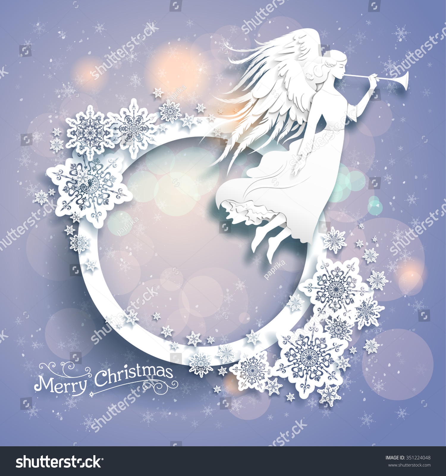 christmas background silhouette angel on snowy stock vector