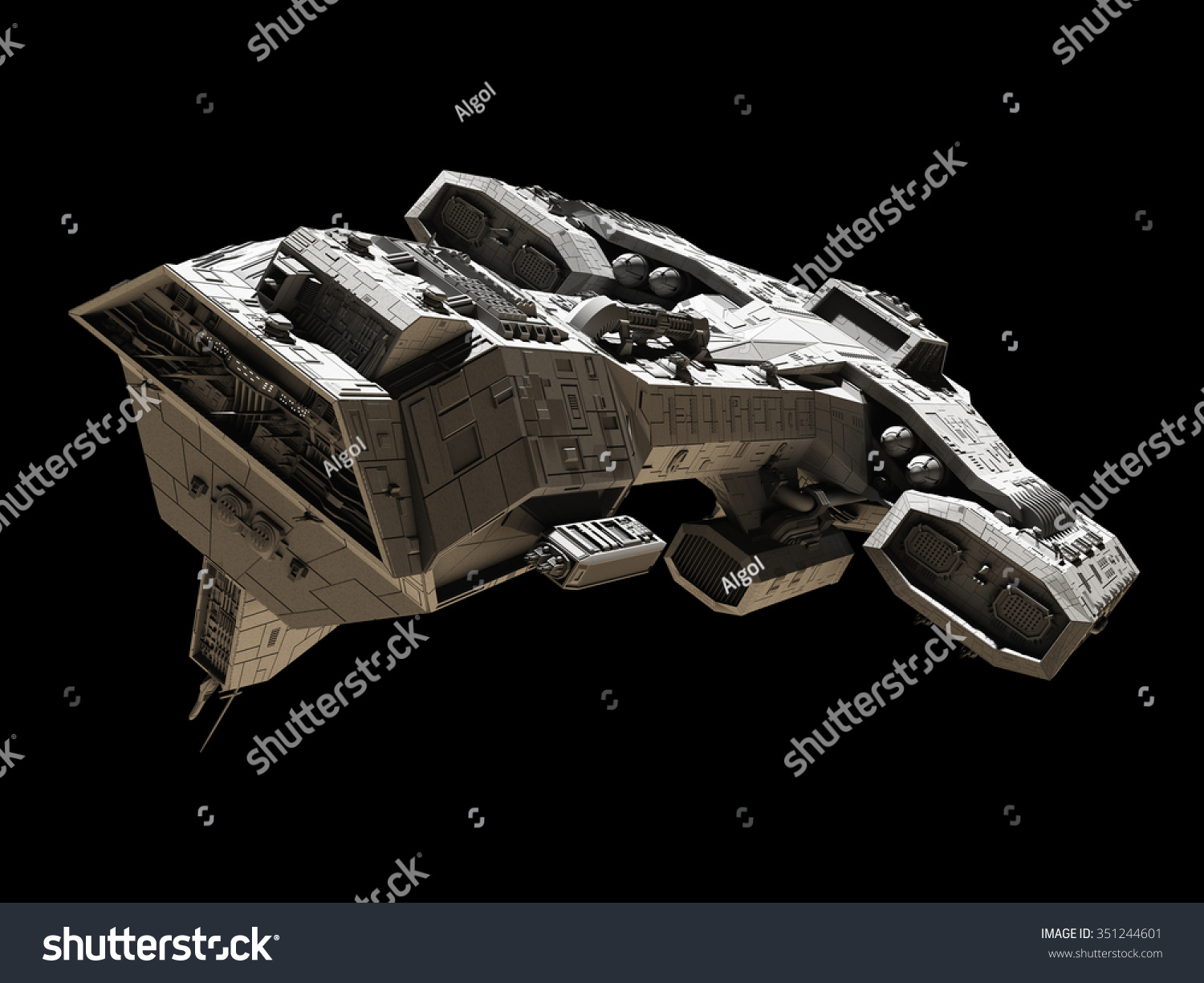 science fiction illustration spaceship isolated on stock