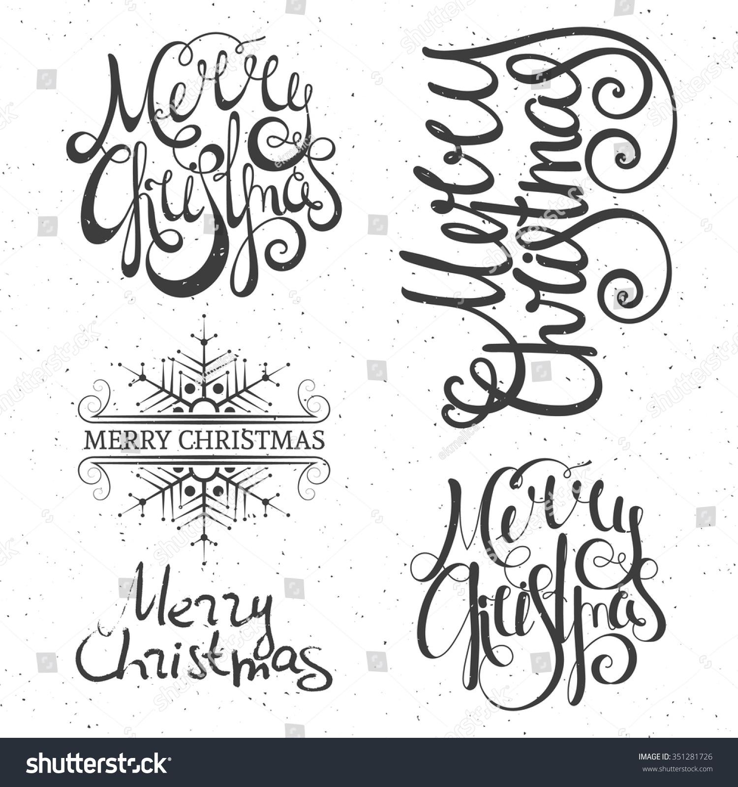Merry Christmas Lettering Design Set Calligraphy Stock