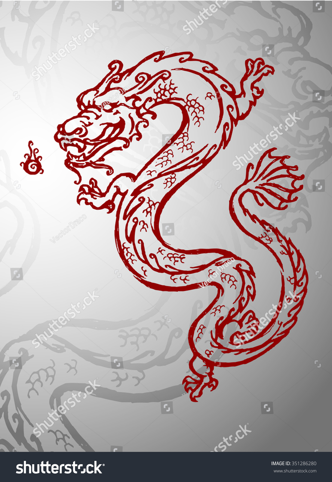 chinese dragon year of the dragon in red sketch style outline