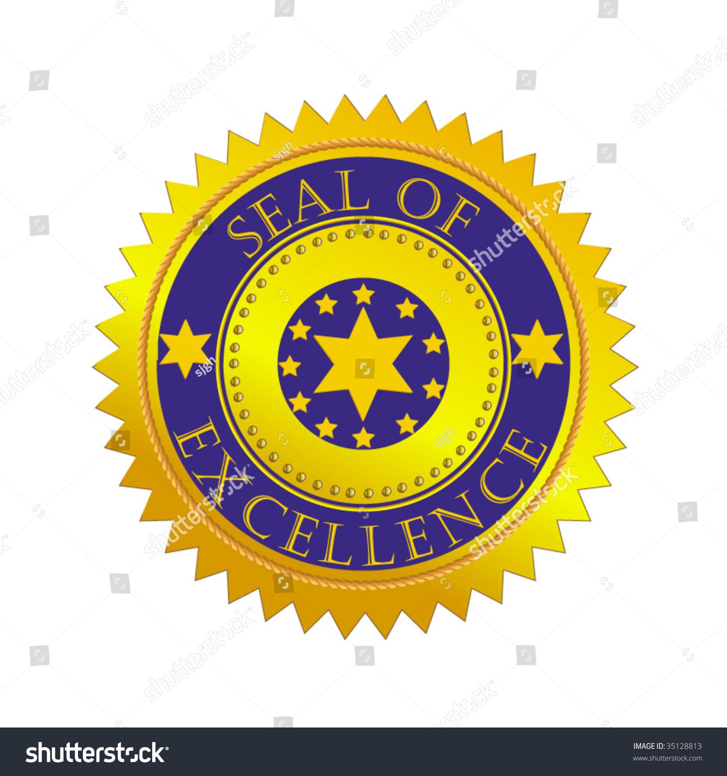 vector gold seal excellence stock vector 35128813